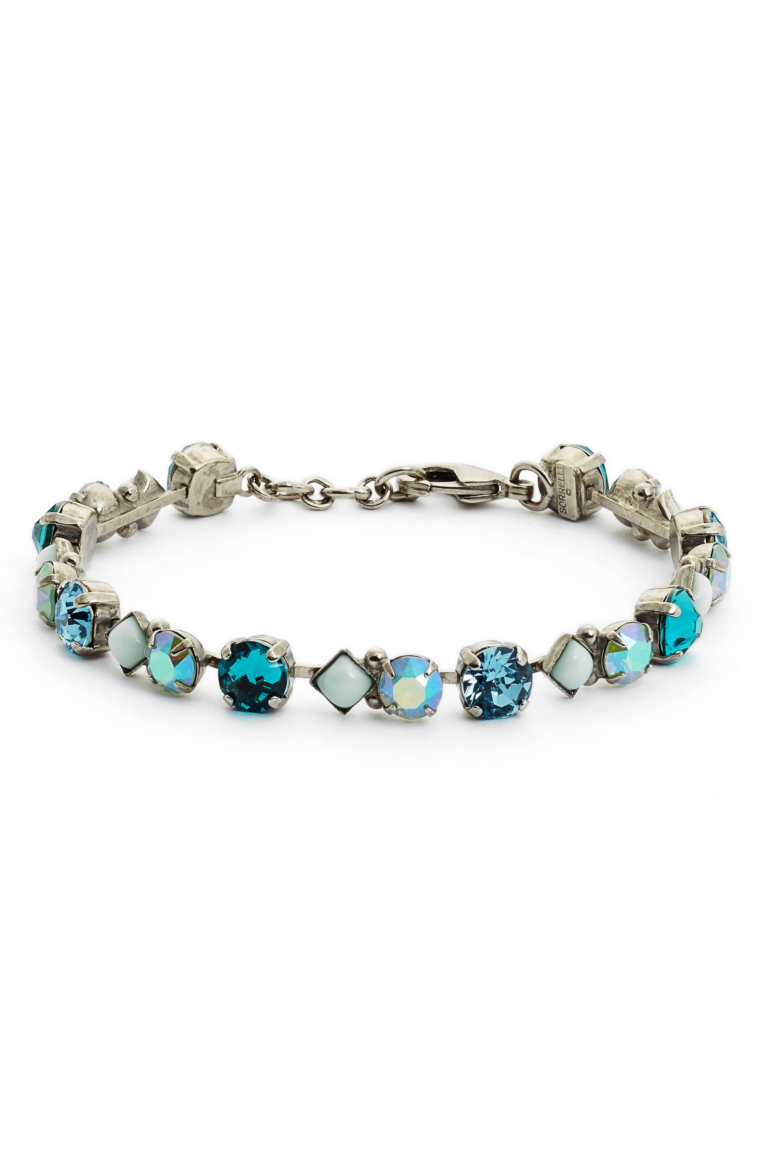 Darling Crystal Tennis Bracelet,                             Main thumbnail 1, color,                             Blue-Green