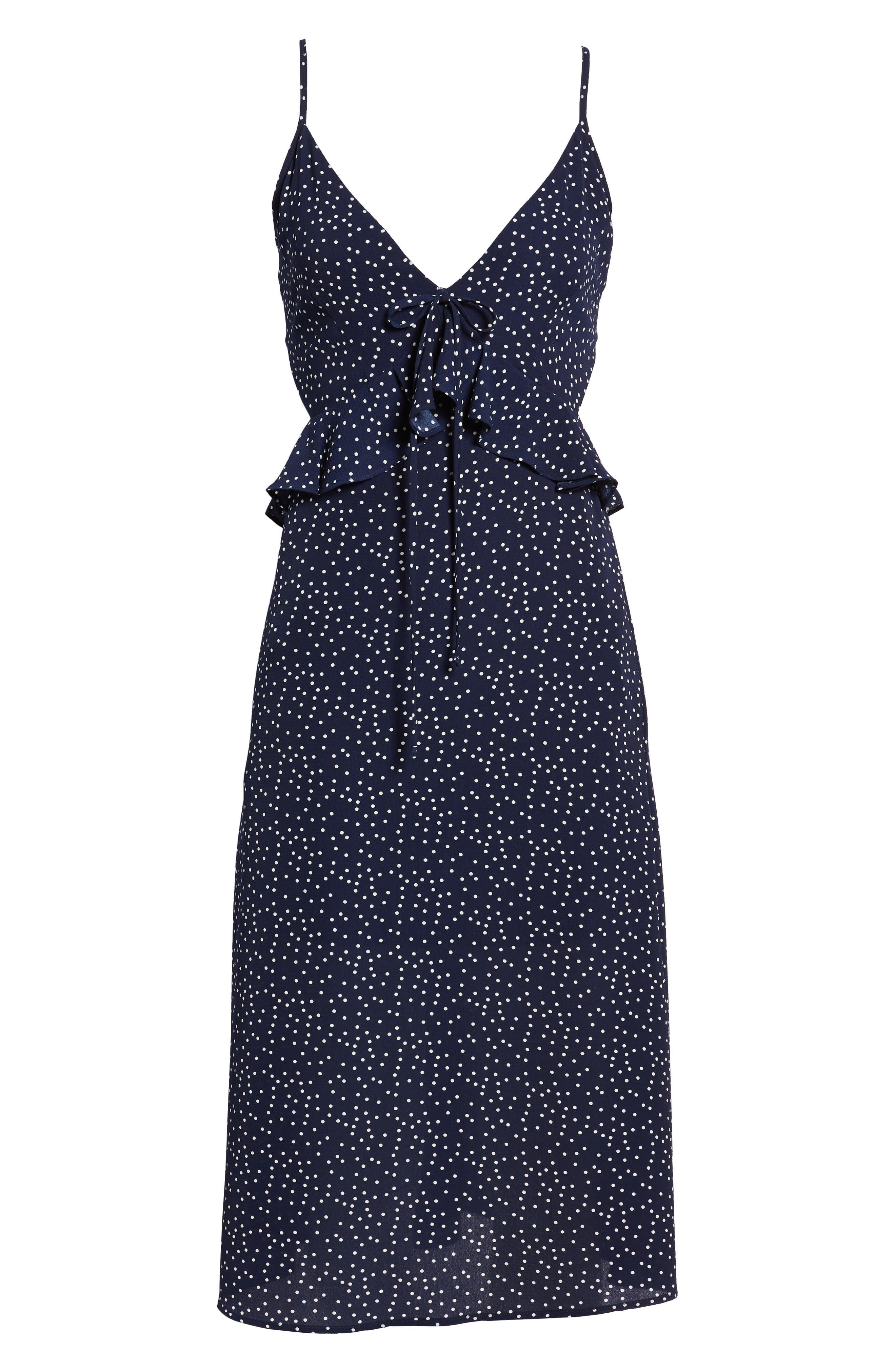 Ruffle Tie Back Midi Dress,                             Alternate thumbnail 9, color,                             Navy