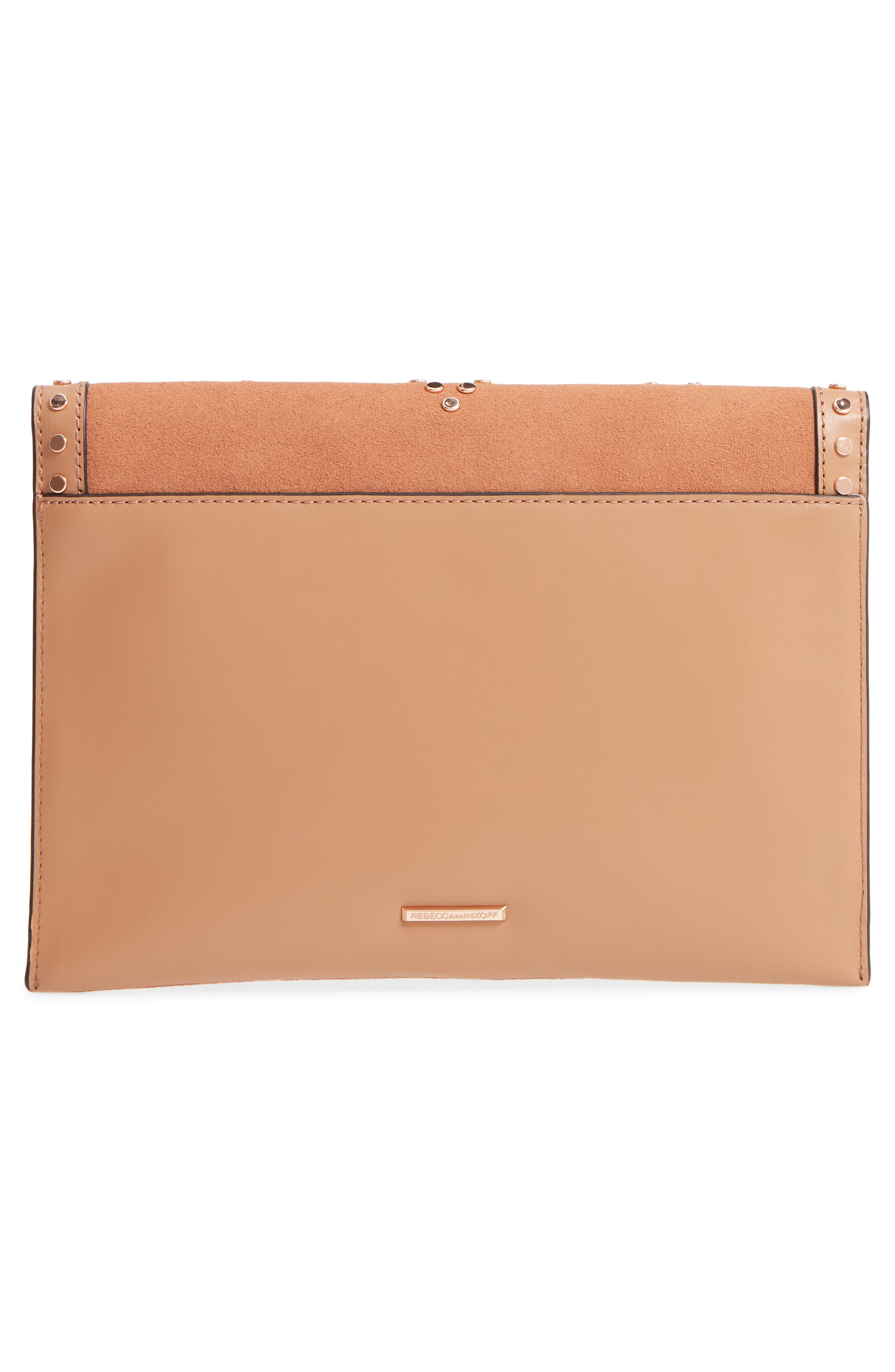 Leo Studded Leather & Suede Clutch,                             Alternate thumbnail 3, color,                             Desert Tan