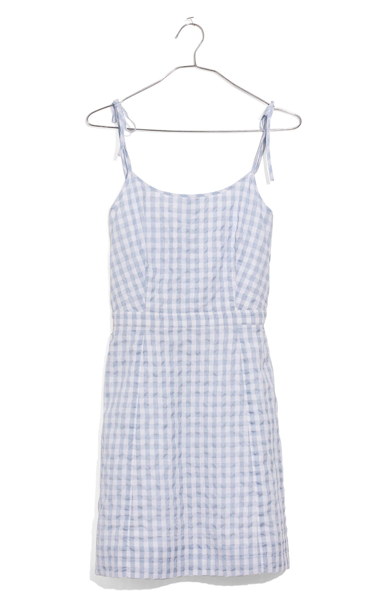 Tie Strap Gingham Dress,                             Main thumbnail 1, color,                             Glacier Blue