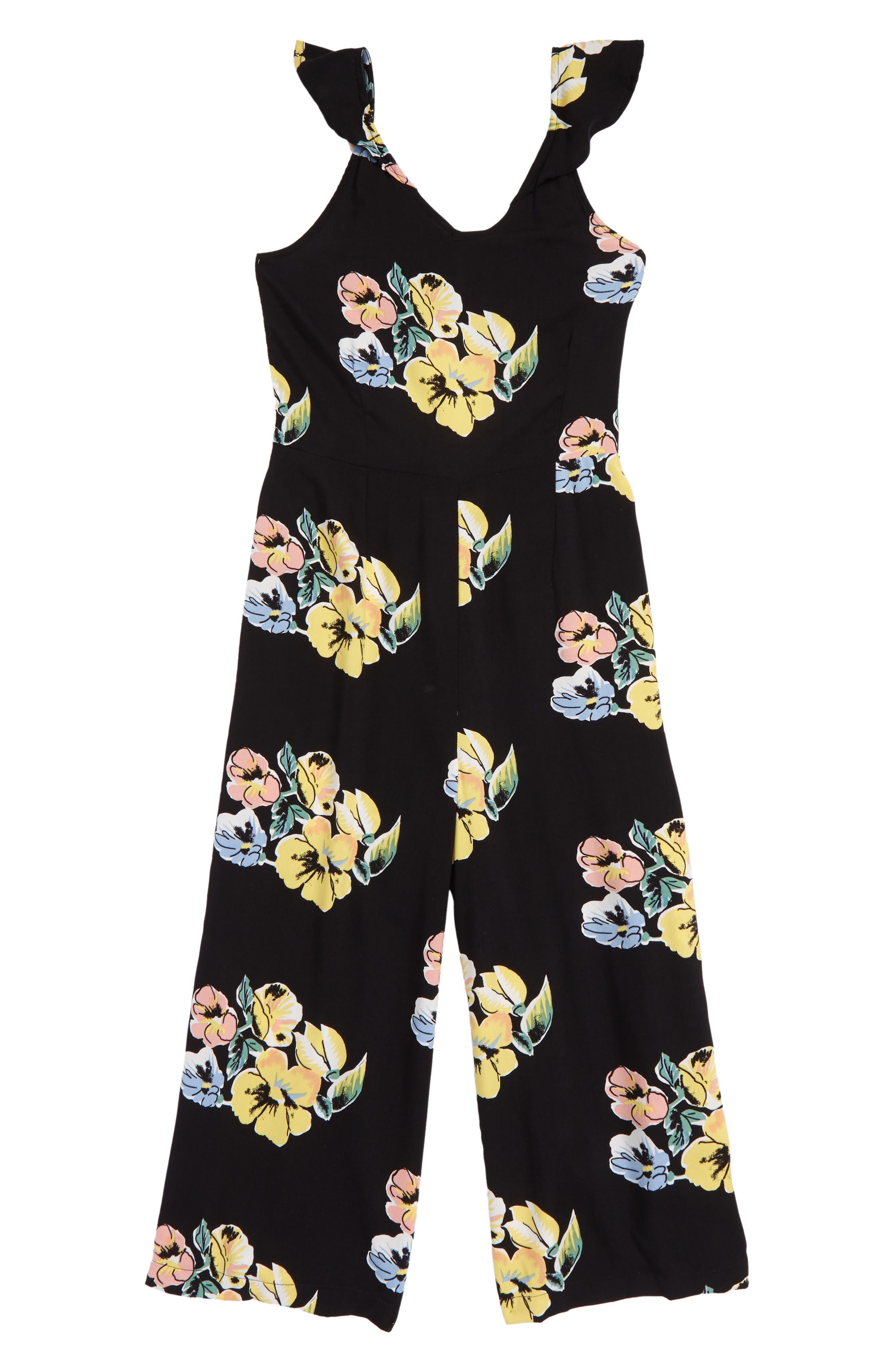Print Knot Back Romper,                         Main,                         color, Black Olive Floral