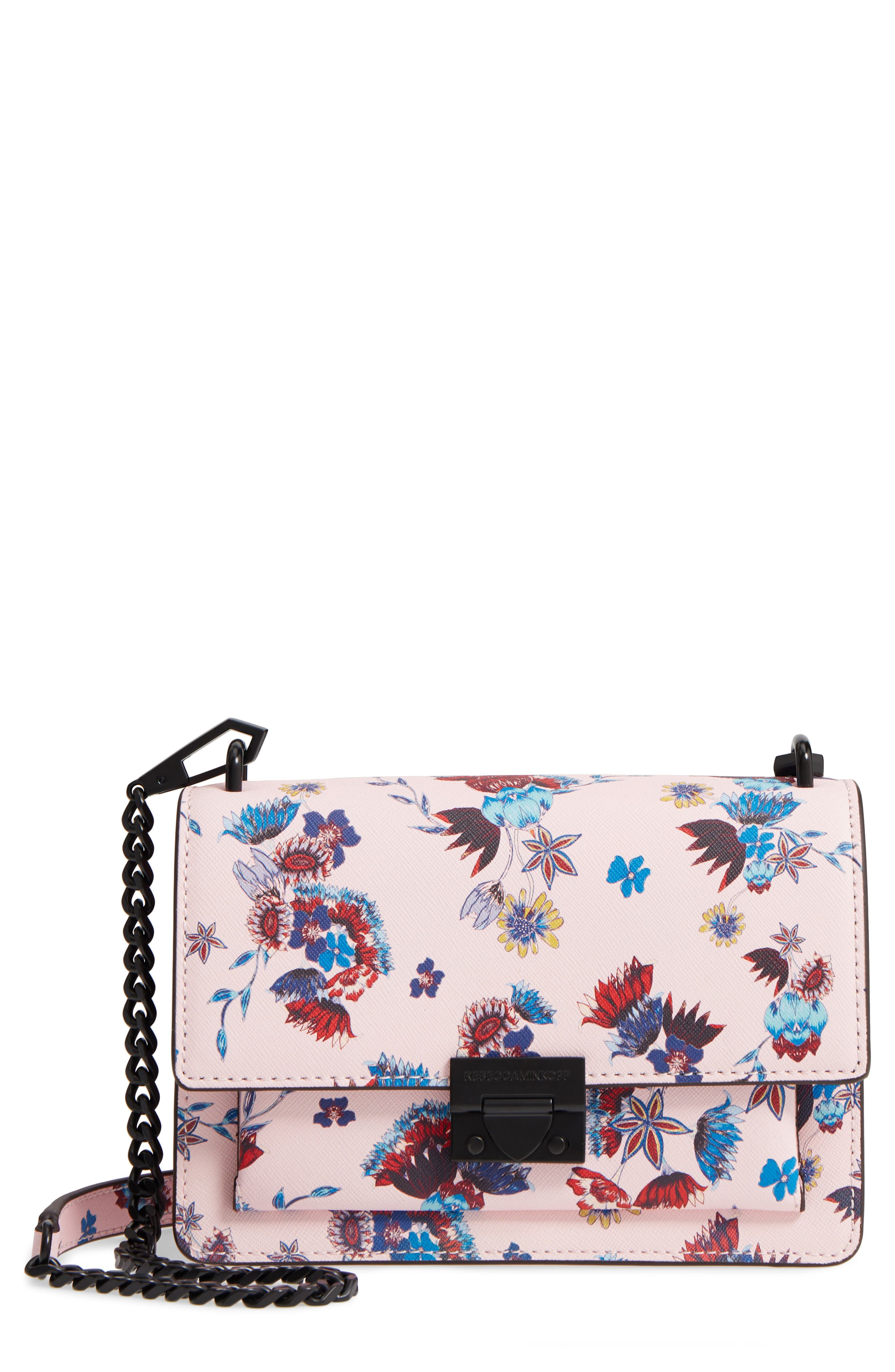 Small Christy Print Leather Shoulder Bag,                             Main thumbnail 1, color,                             Floral Pink