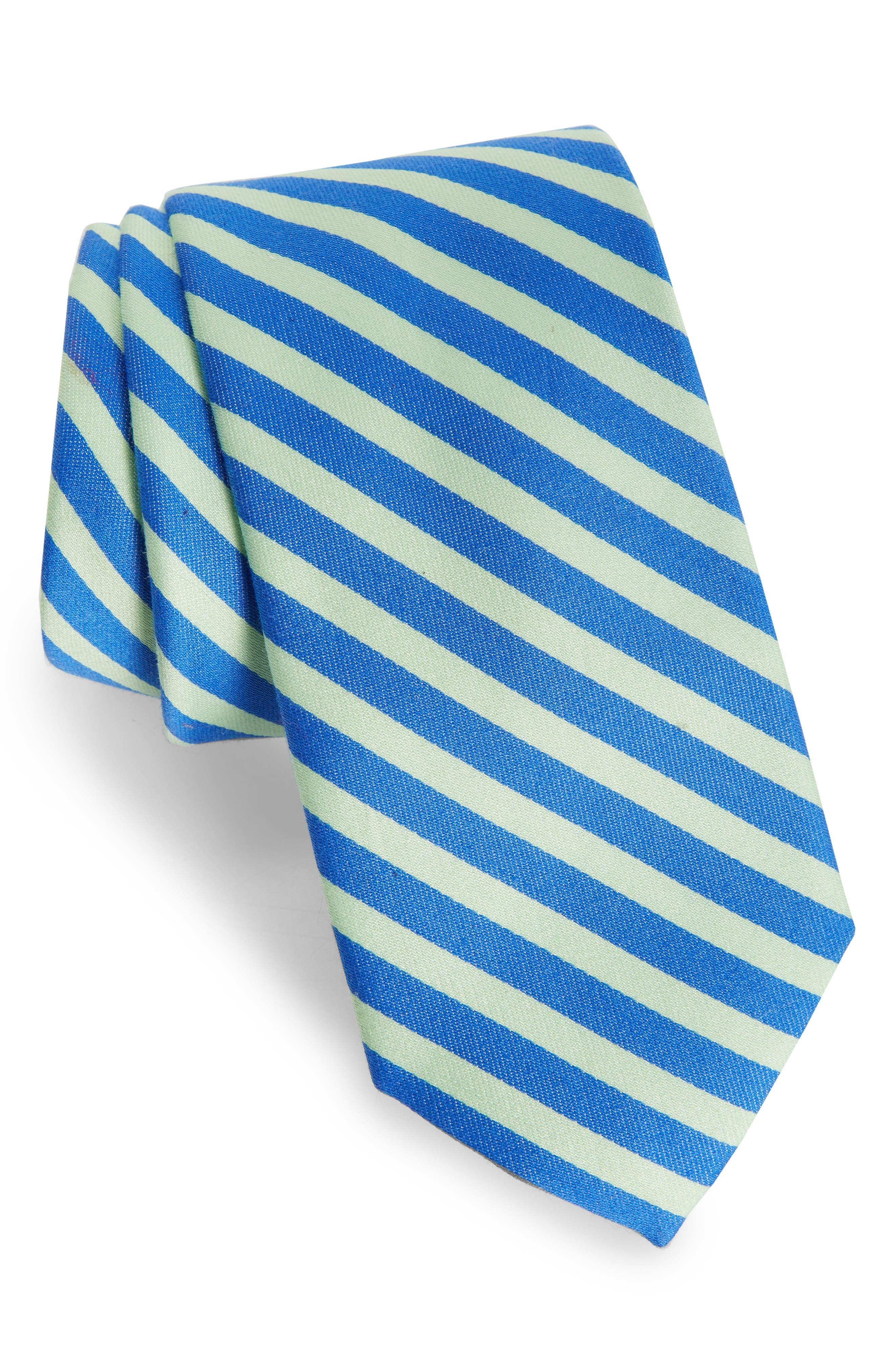 Striped Cotton & Silk Tie,                         Main,                         color, Blue