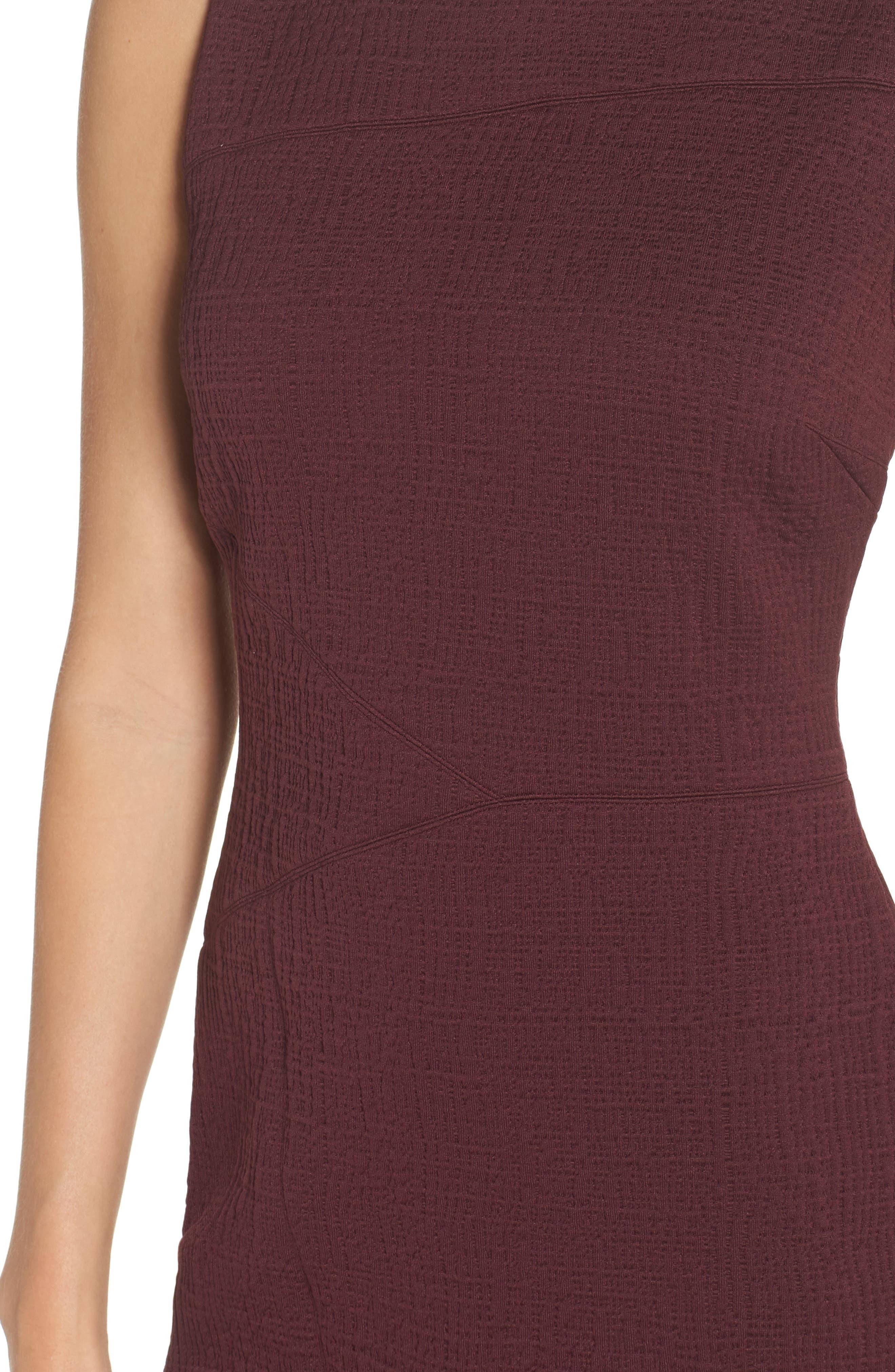 Jacquard Sheath Dress,                             Alternate thumbnail 4, color,                             Fig
