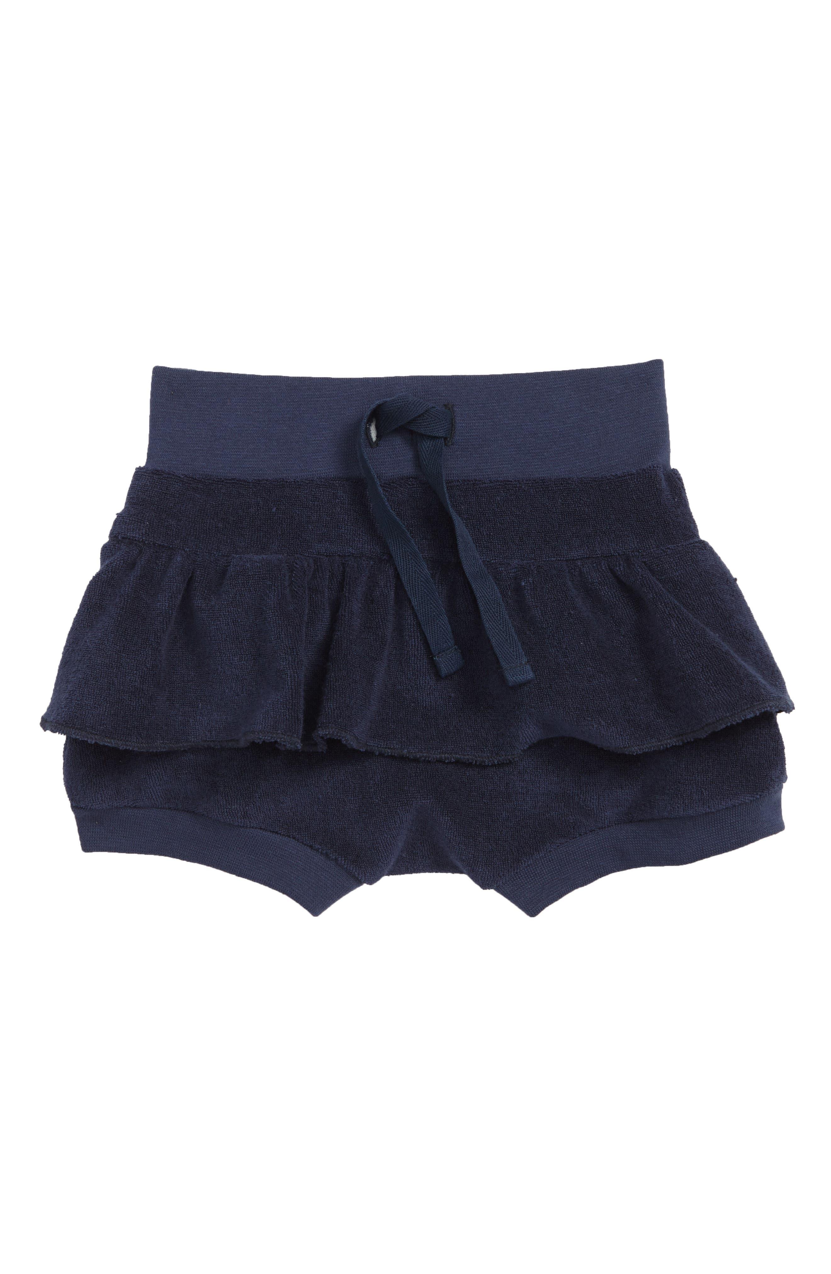 Frill Organic Cotton Beach Shorts,                             Main thumbnail 1, color,                             Blue