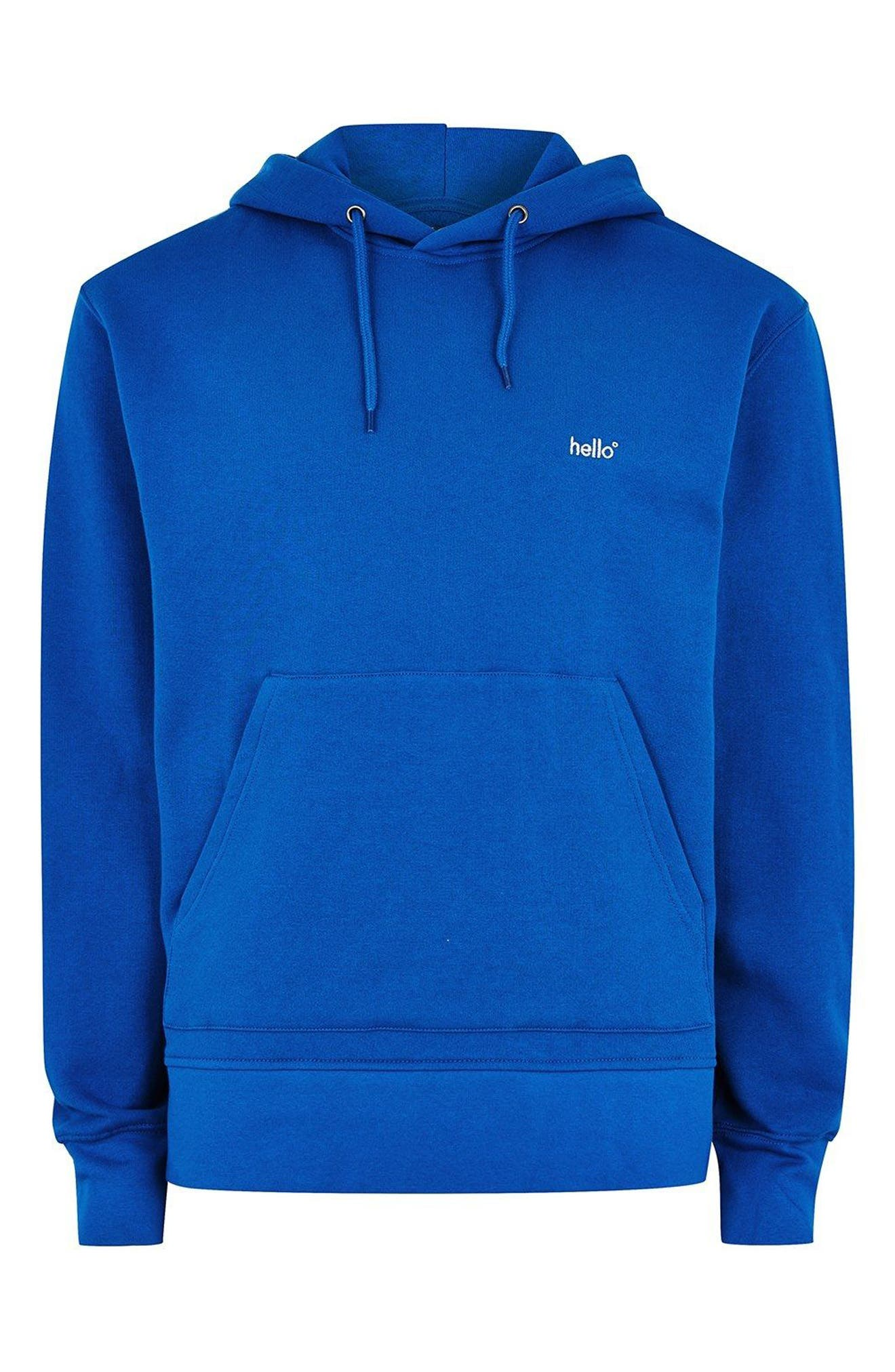 Classic Fit Tristan Hello Embroidered Hoodie,                             Alternate thumbnail 4, color,                             Blue Multi