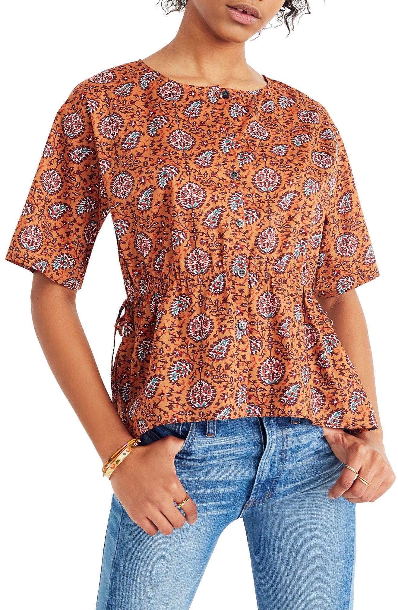 Drawstring Waist Shirt,                         Main,                         color, Burnt Sienna