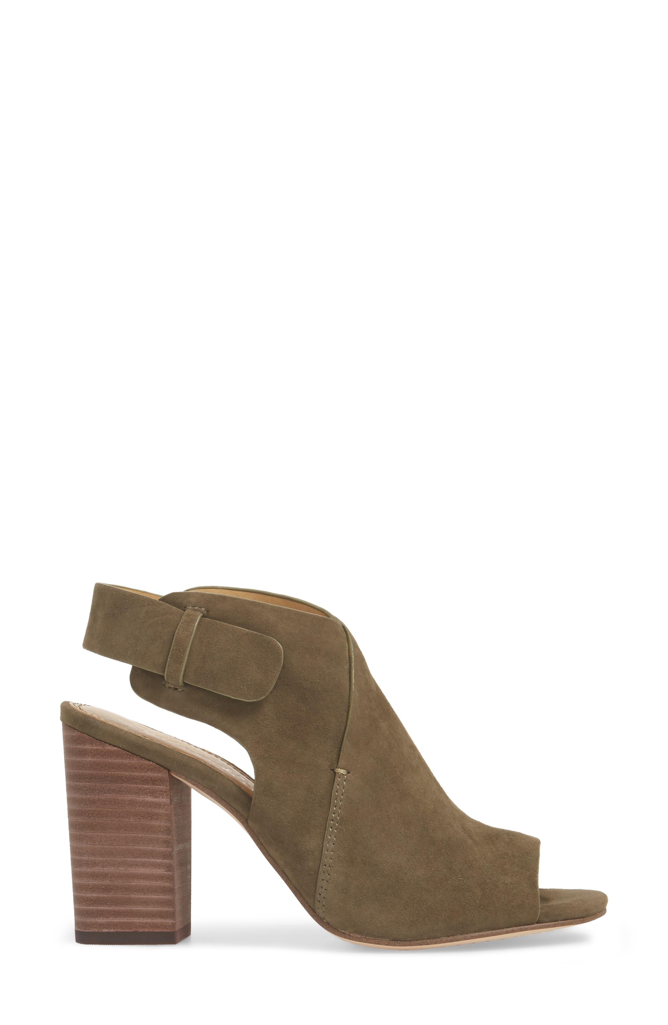 Nikolai Stack Heel Sandal,                             Alternate thumbnail 3, color,                             Olive Suede