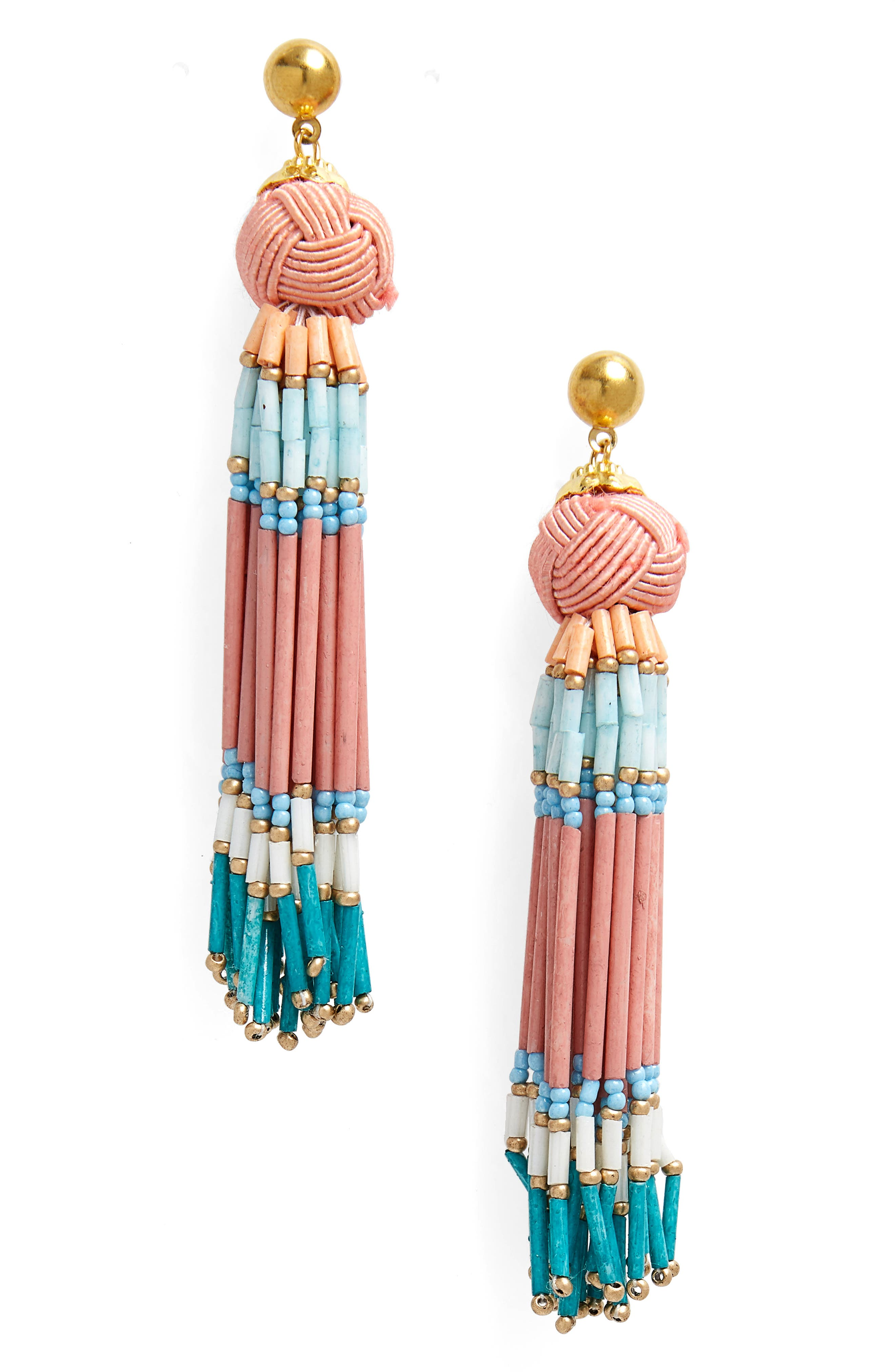 Knot & Beaded Tassel Earrings,                             Main thumbnail 1, color,                             Pink Multi
