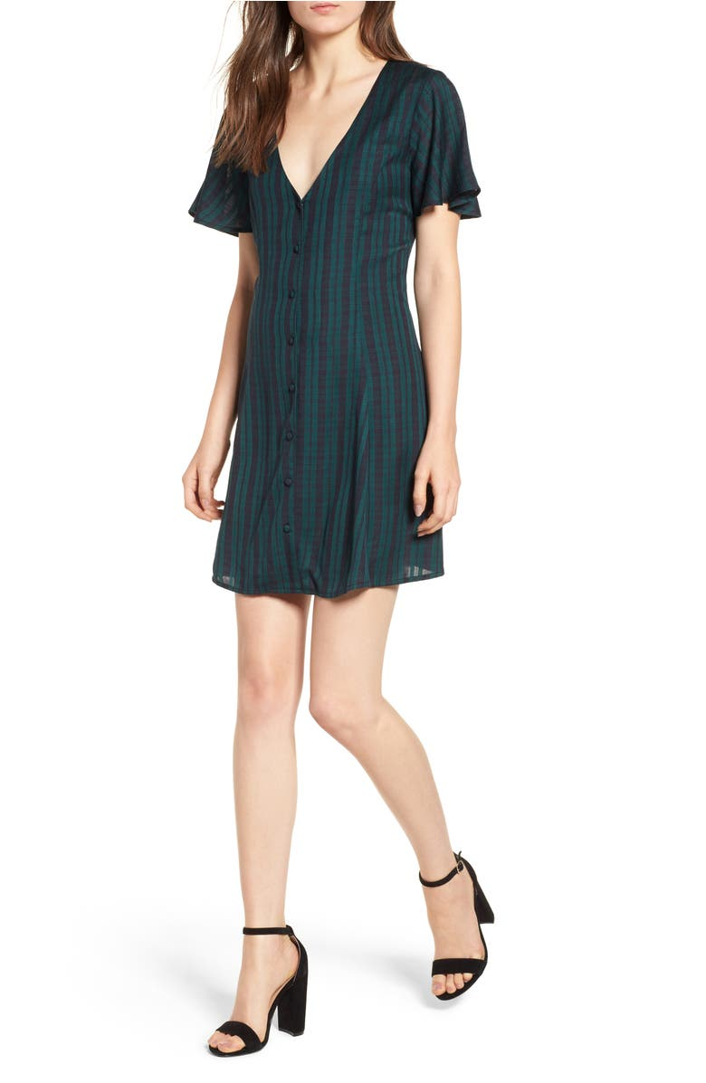 Plaid Button Front Dress,                         Main,                         color, Green Botanical Small Check