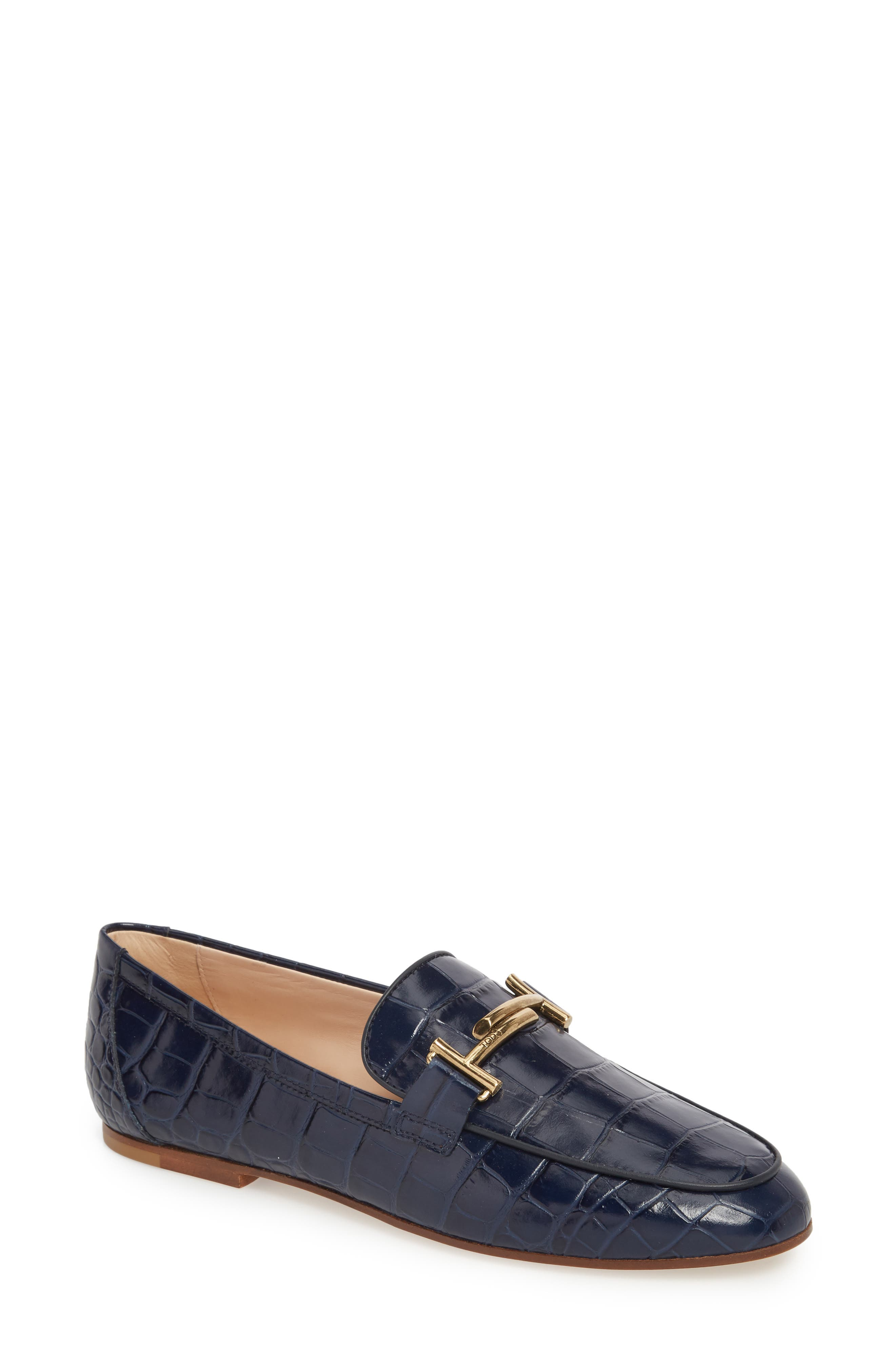Double-T Printed Loafer in Dark Navy