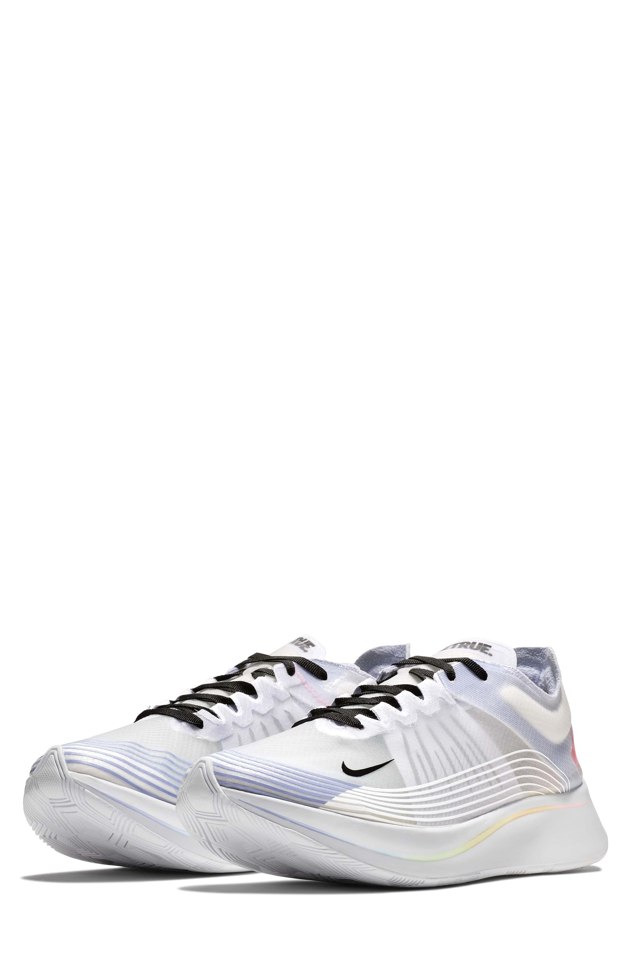 Nordstrom x Nike Zoom Fly BETRUE Running Shoe,                             Main thumbnail 1, color,                             White/ Black/ Palest Purple