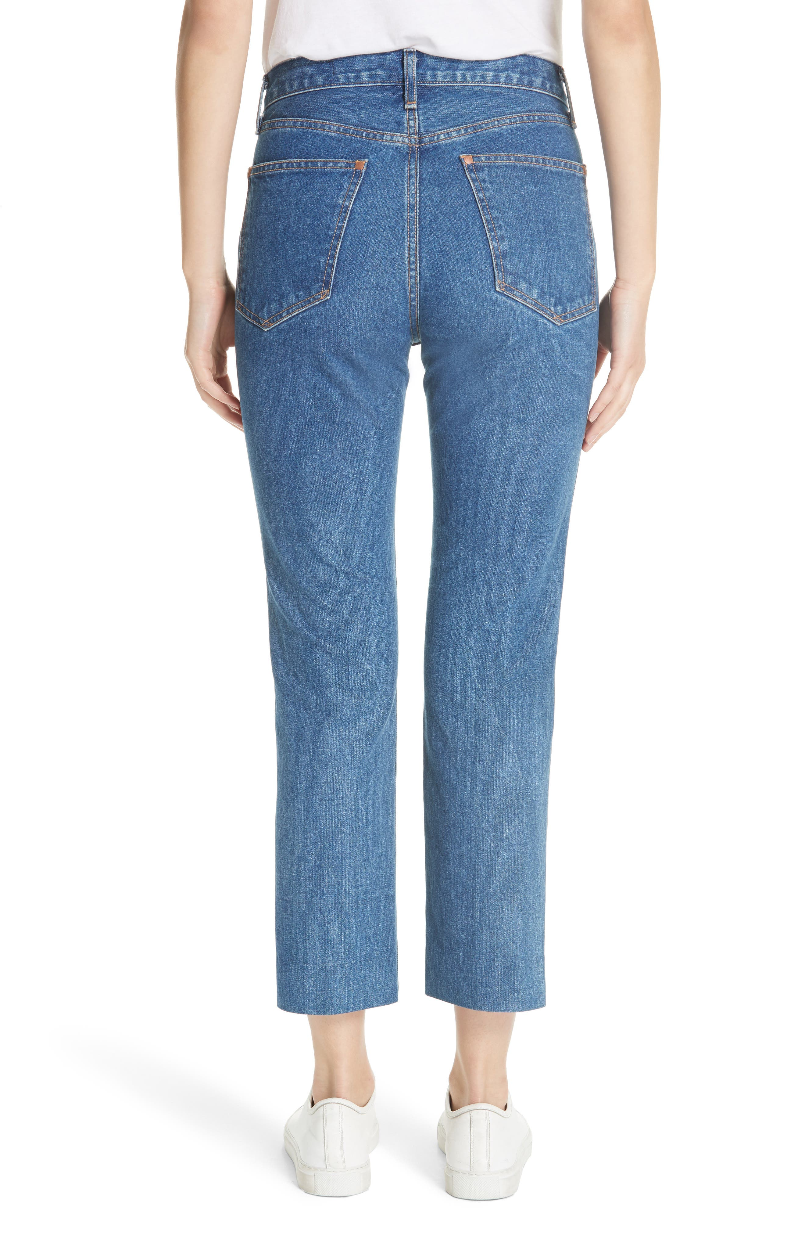 High Waist Crop Straight Leg Jeans,                             Alternate thumbnail 2, color,                             Vintage Bloo