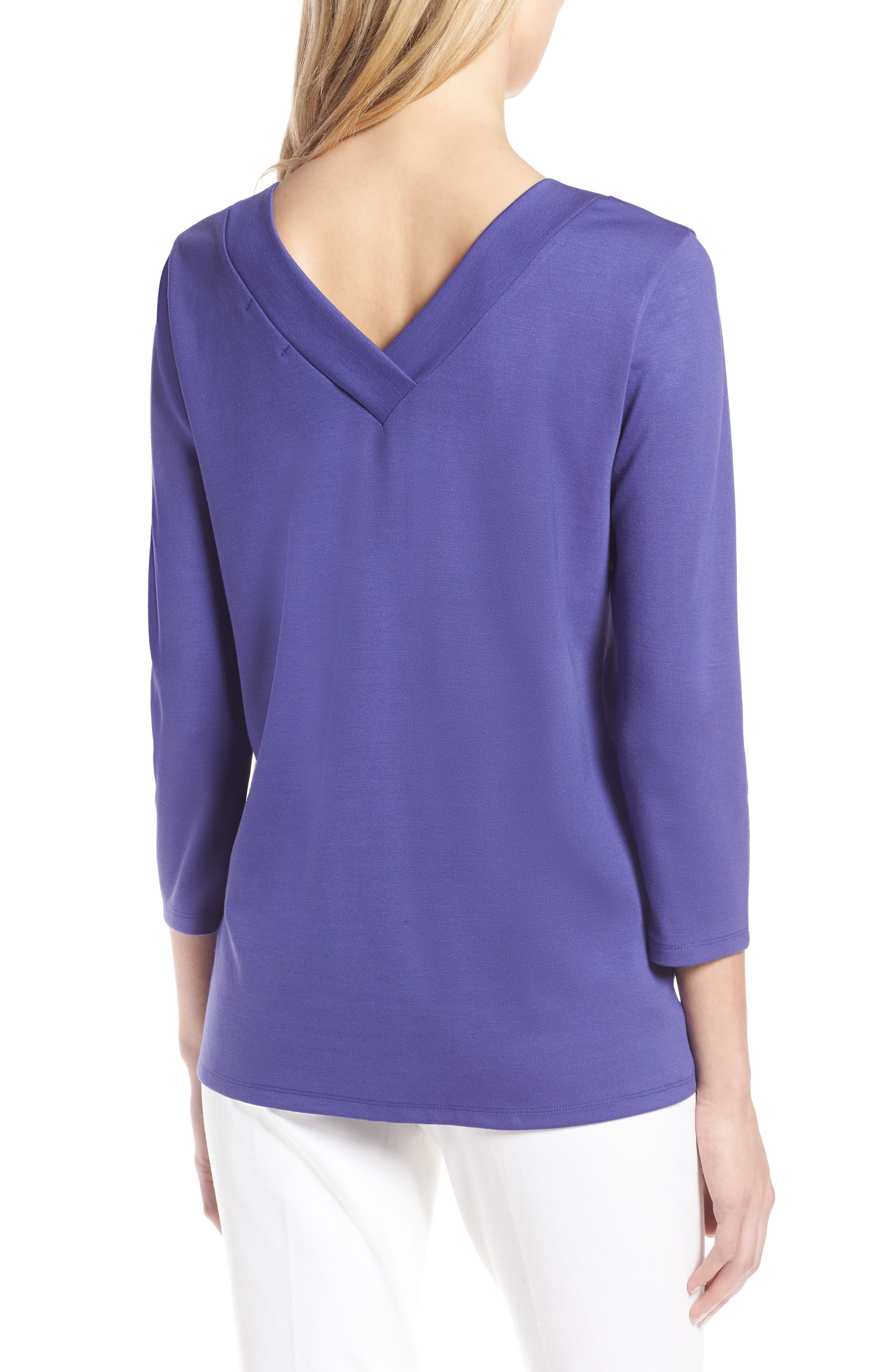 V-Neck Tee,                             Alternate thumbnail 2, color,                             Purple Orient