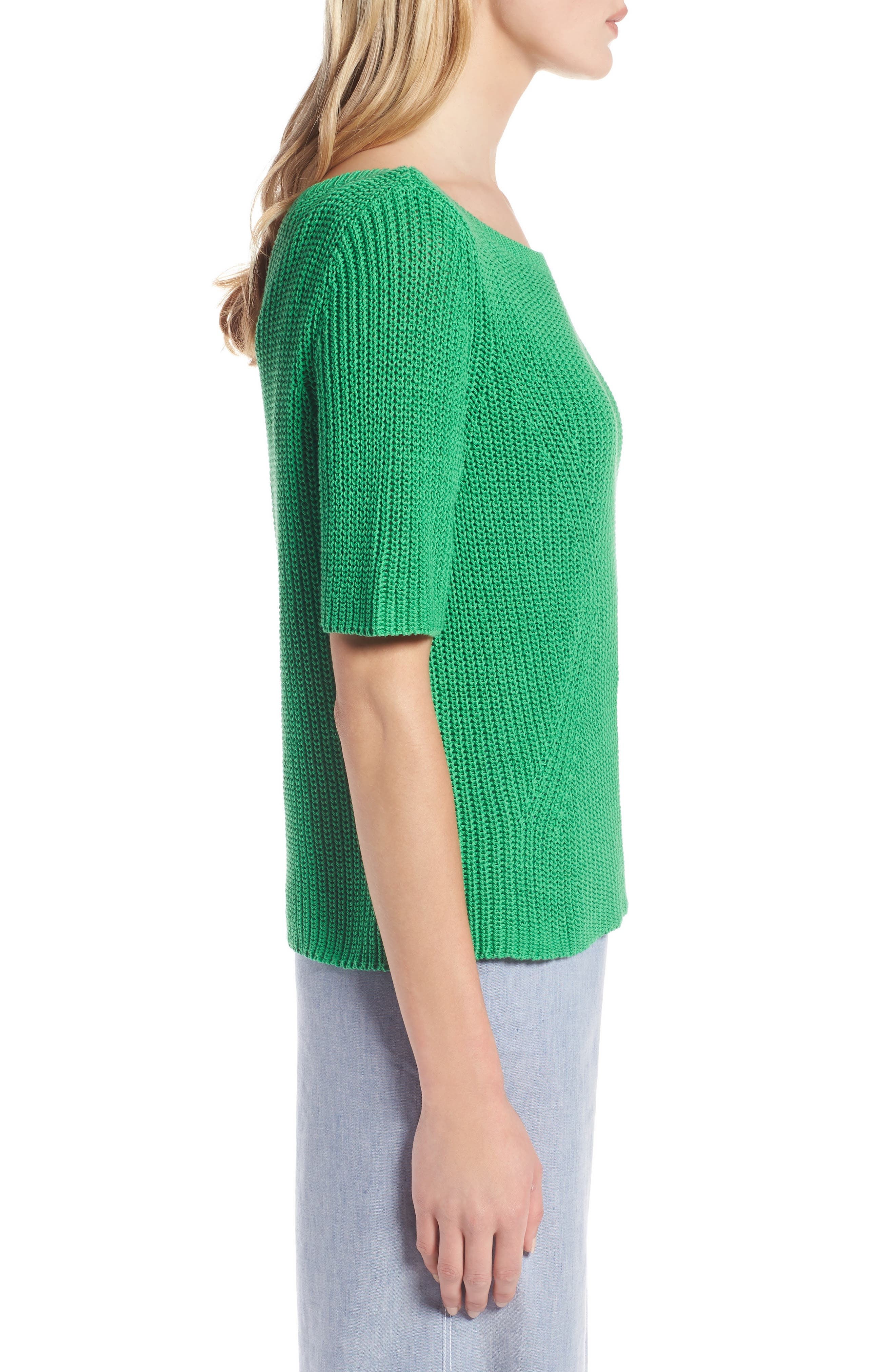 Shaker Stitch Cotton Sweater,                             Alternate thumbnail 3, color,                             Green Kelly
