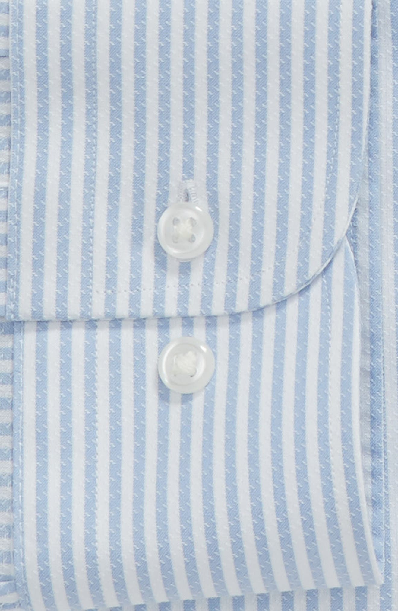 Tech-Smart Traditional Fit Stripe Stretch Dress Shirt,                             Alternate thumbnail 5, color,                             Blue Brunnera