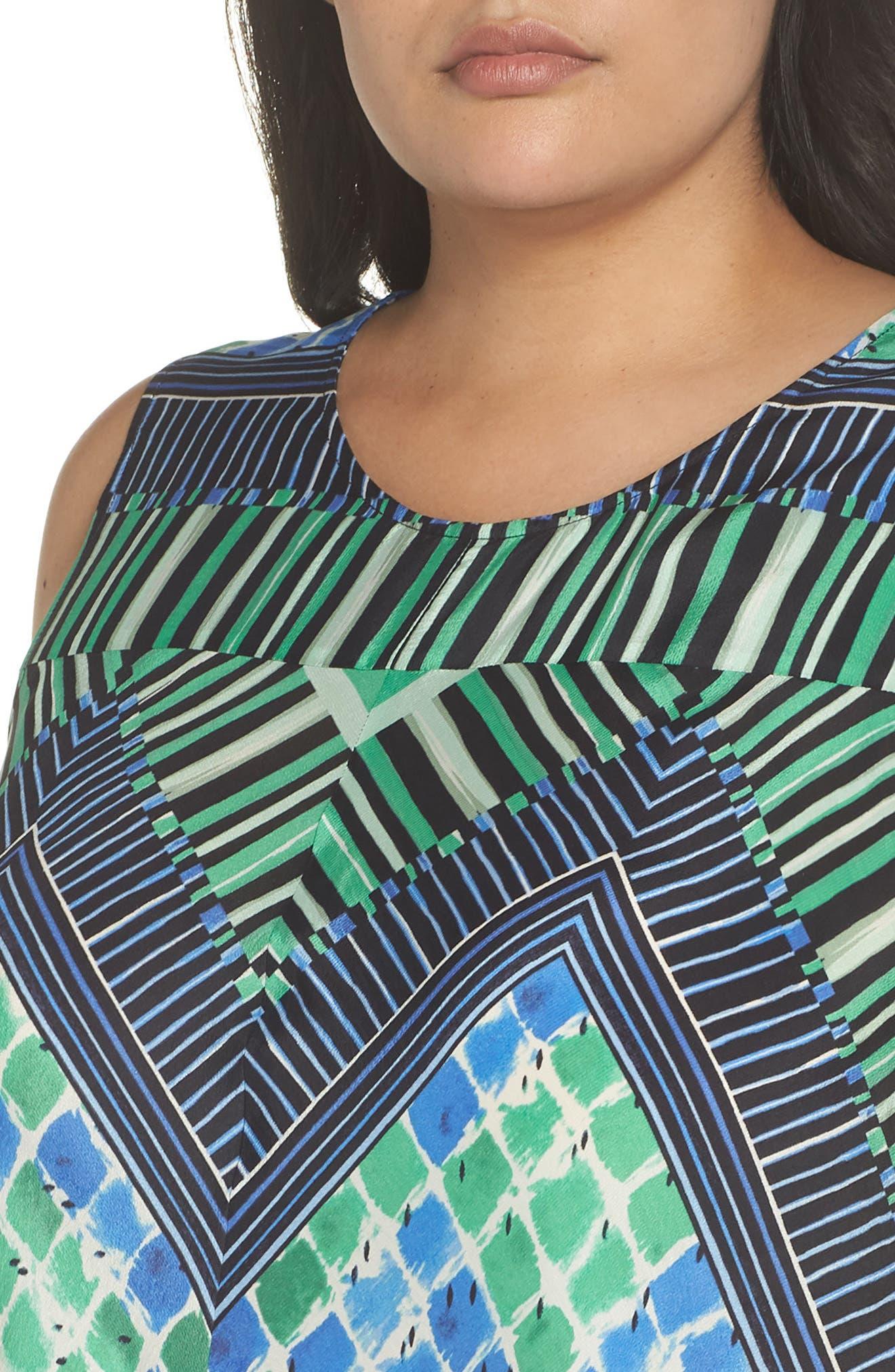 DJ Vu Handkerchief Hem Silk Blend Dress,                             Alternate thumbnail 3, color,                             Multi