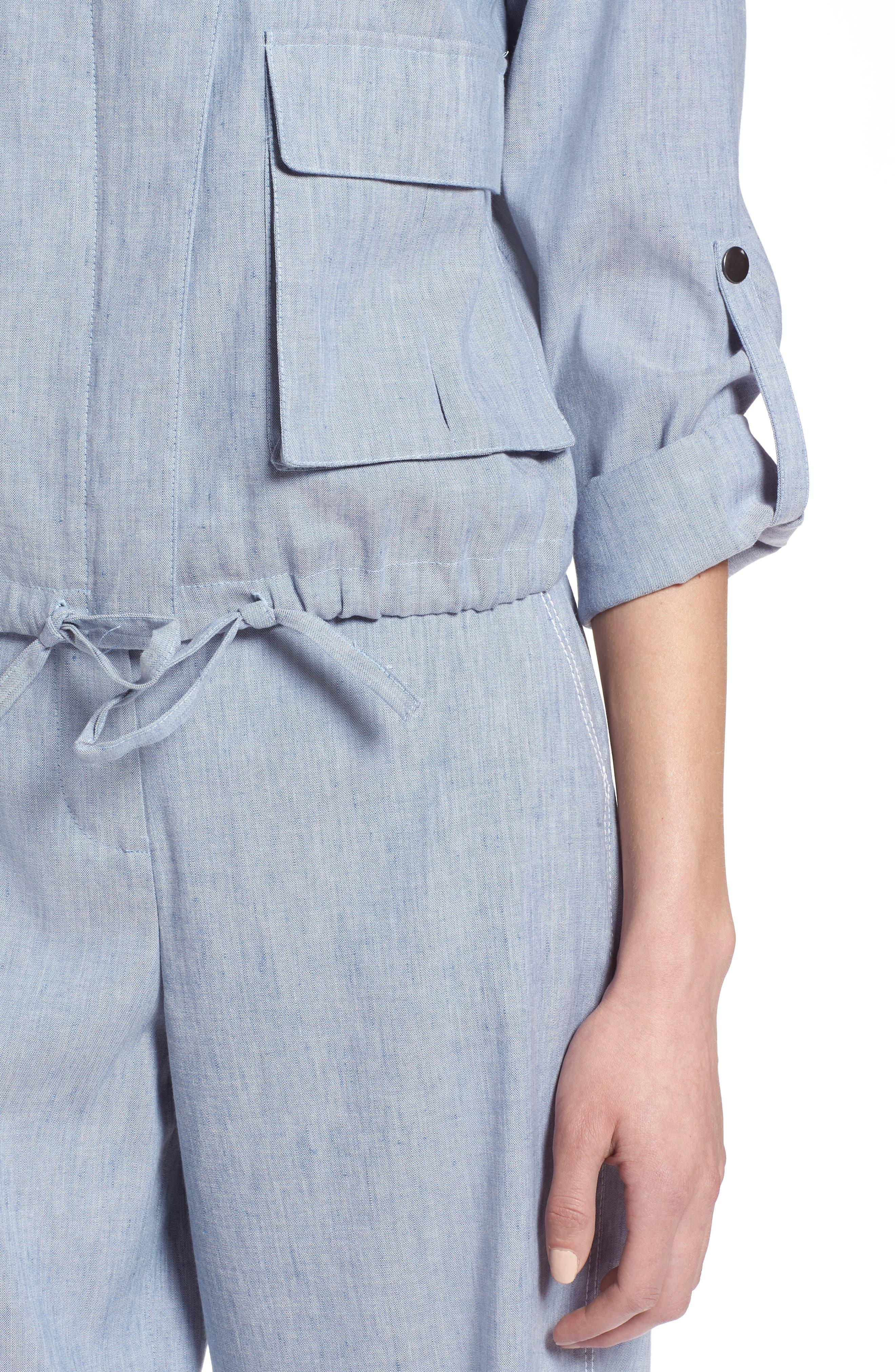 Linen Blend Chambray Tie Waist Jacket,                             Alternate thumbnail 4, color,                             Chambray