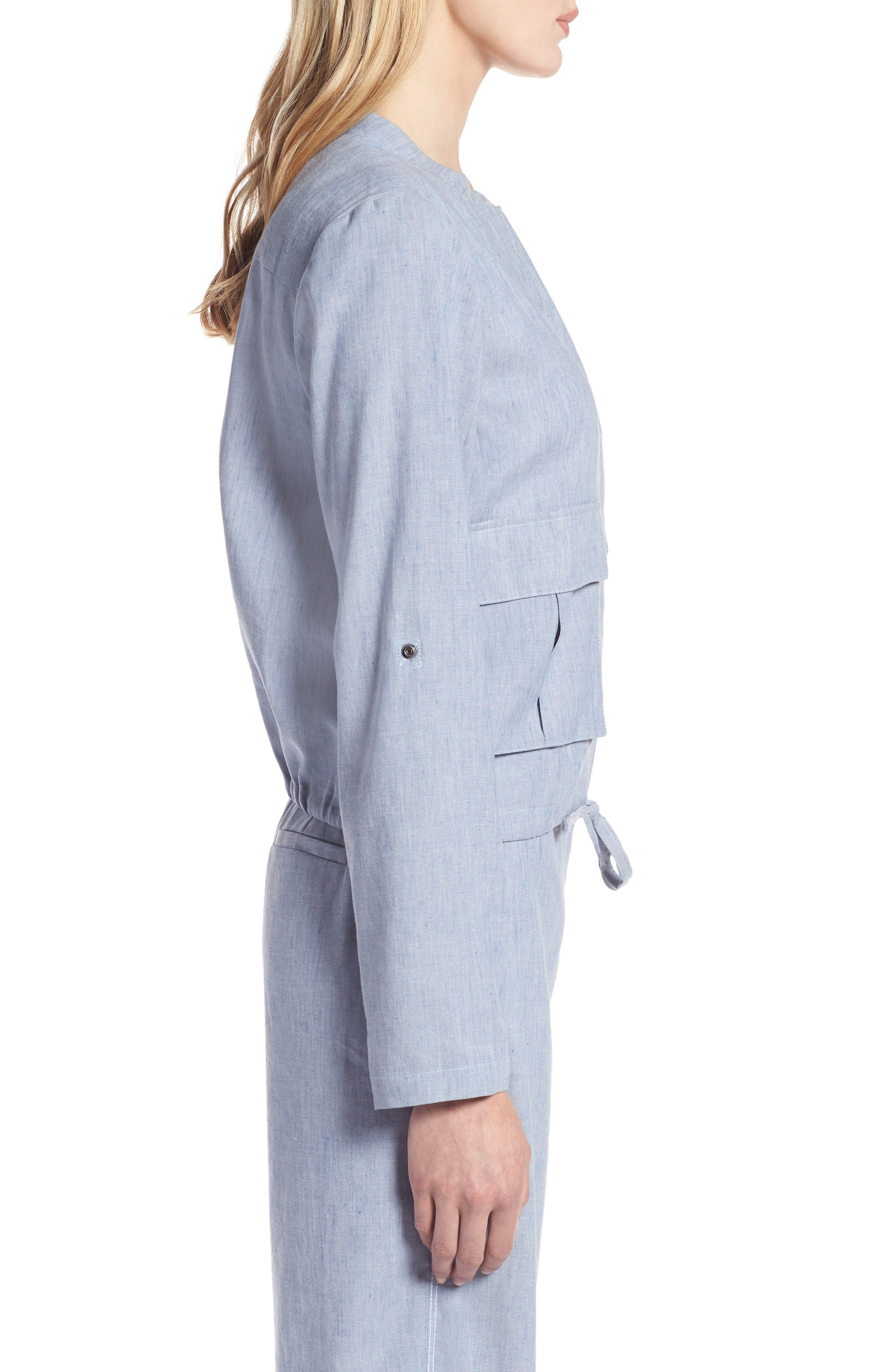 Linen Blend Chambray Tie Waist Jacket,                             Alternate thumbnail 3, color,                             Chambray