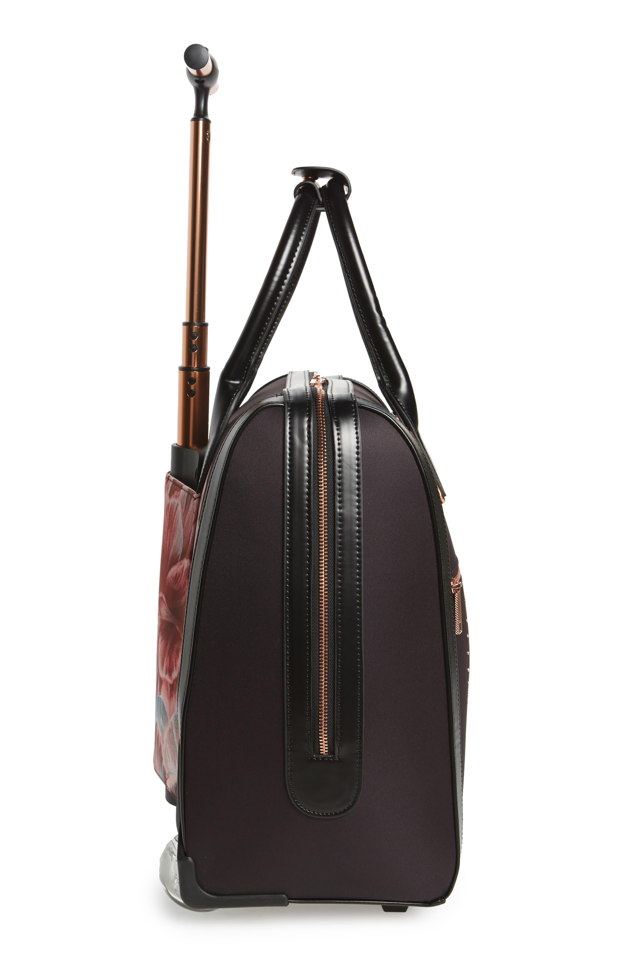 Tranquility Rolling Faux Leather Travel Bag,                             Alternate thumbnail 3, color,                             Black