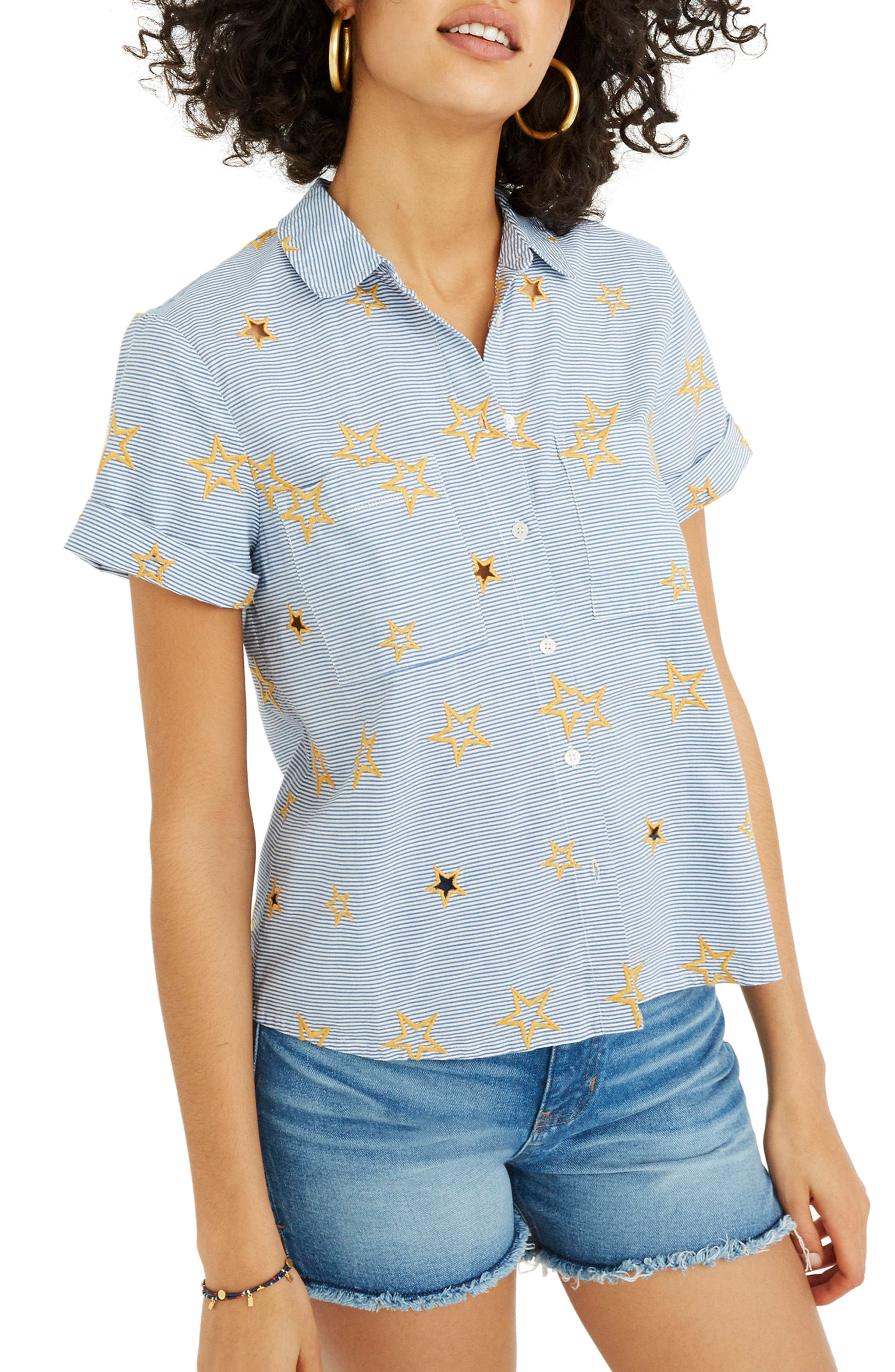 Star Embroidered Stripe Shirt,                             Main thumbnail 1, color,                             Tulum Blue