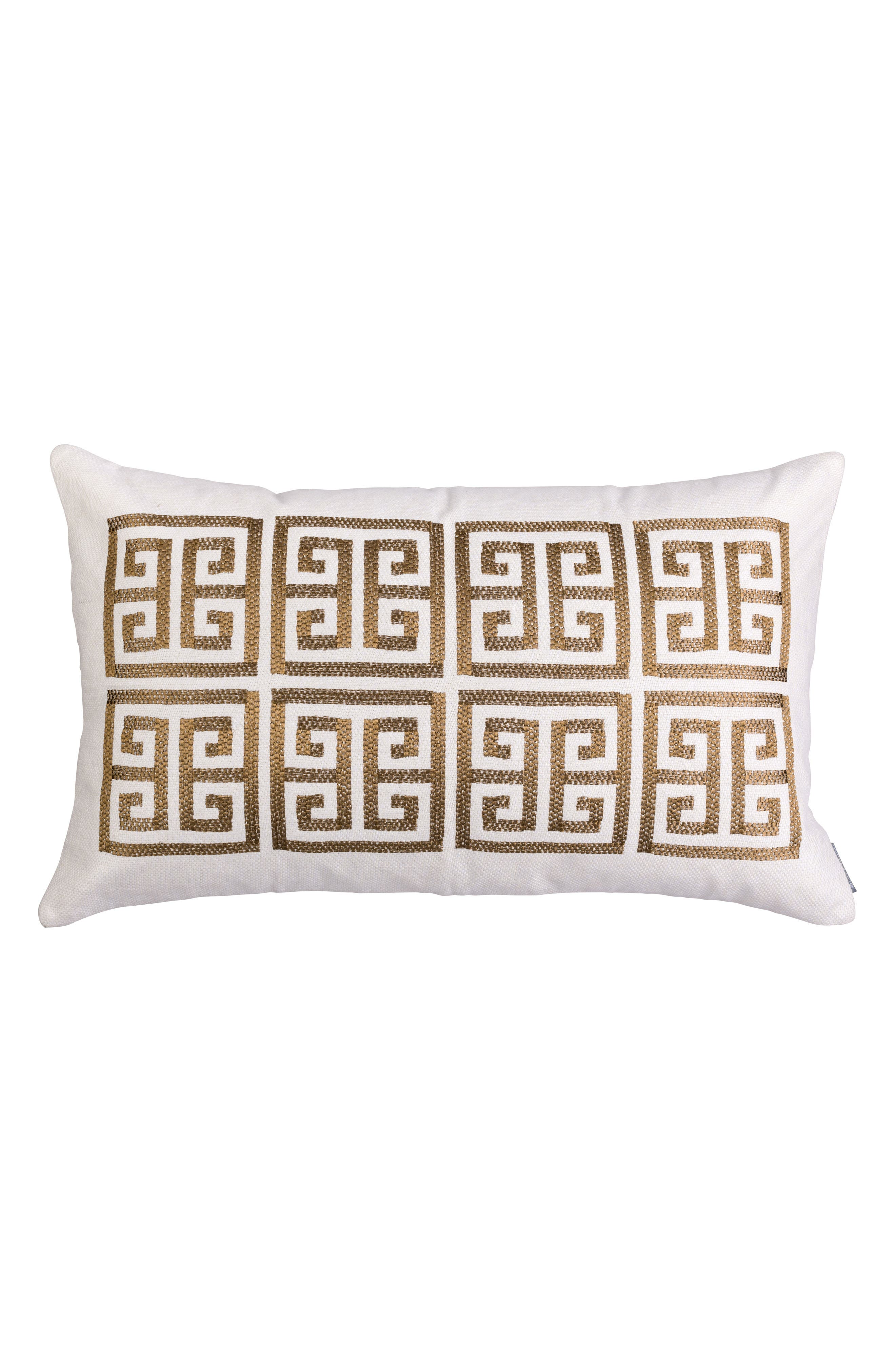 Guy Basket Weave Embroidery Accent Pillow,                         Main,                         color, Gold