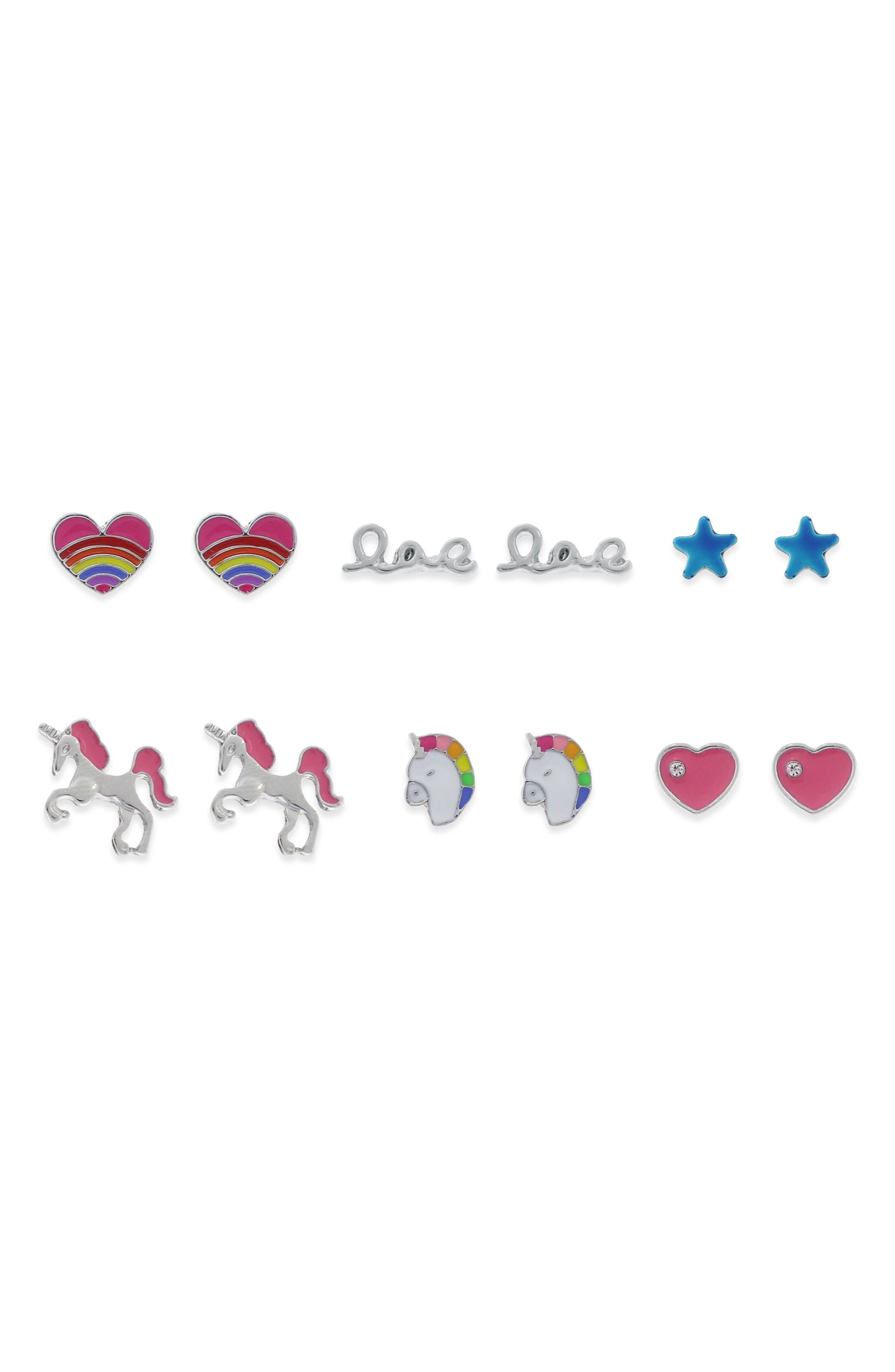 Set of 6 Stud Earrings,                         Main,                         color, Multi
