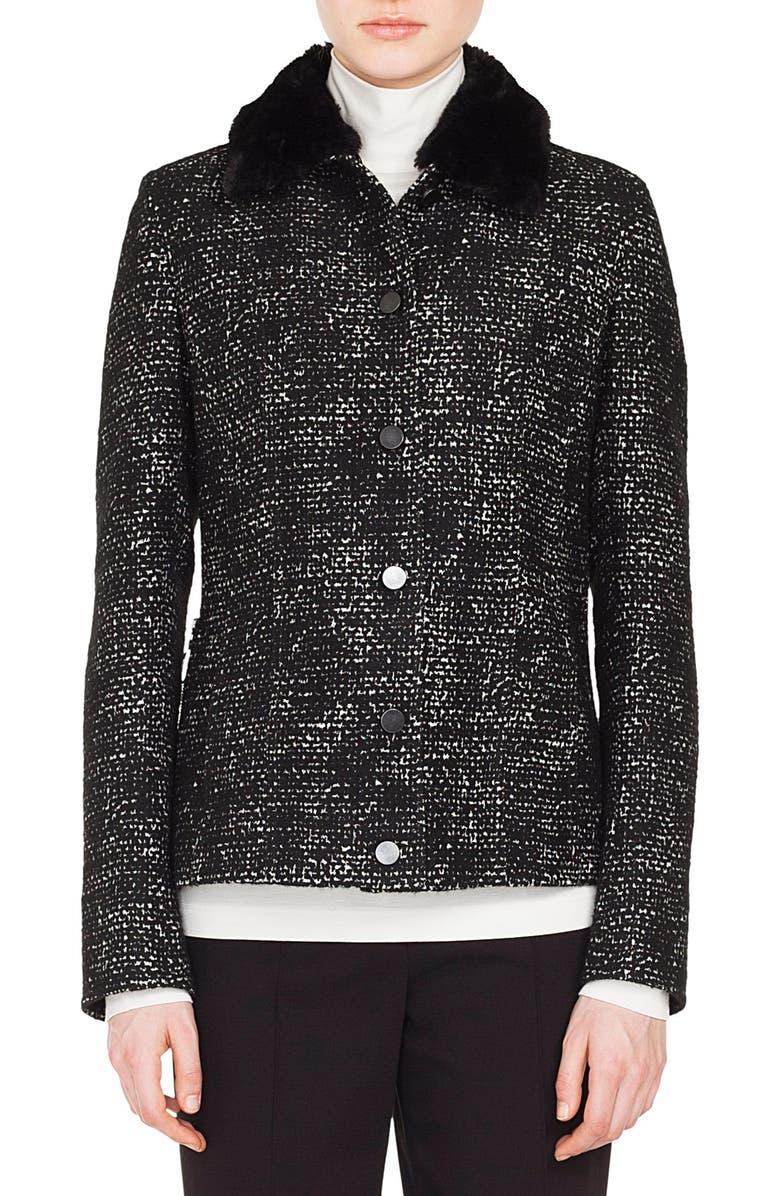 Tweed Jacket with Detachable Faux Fur Collar
