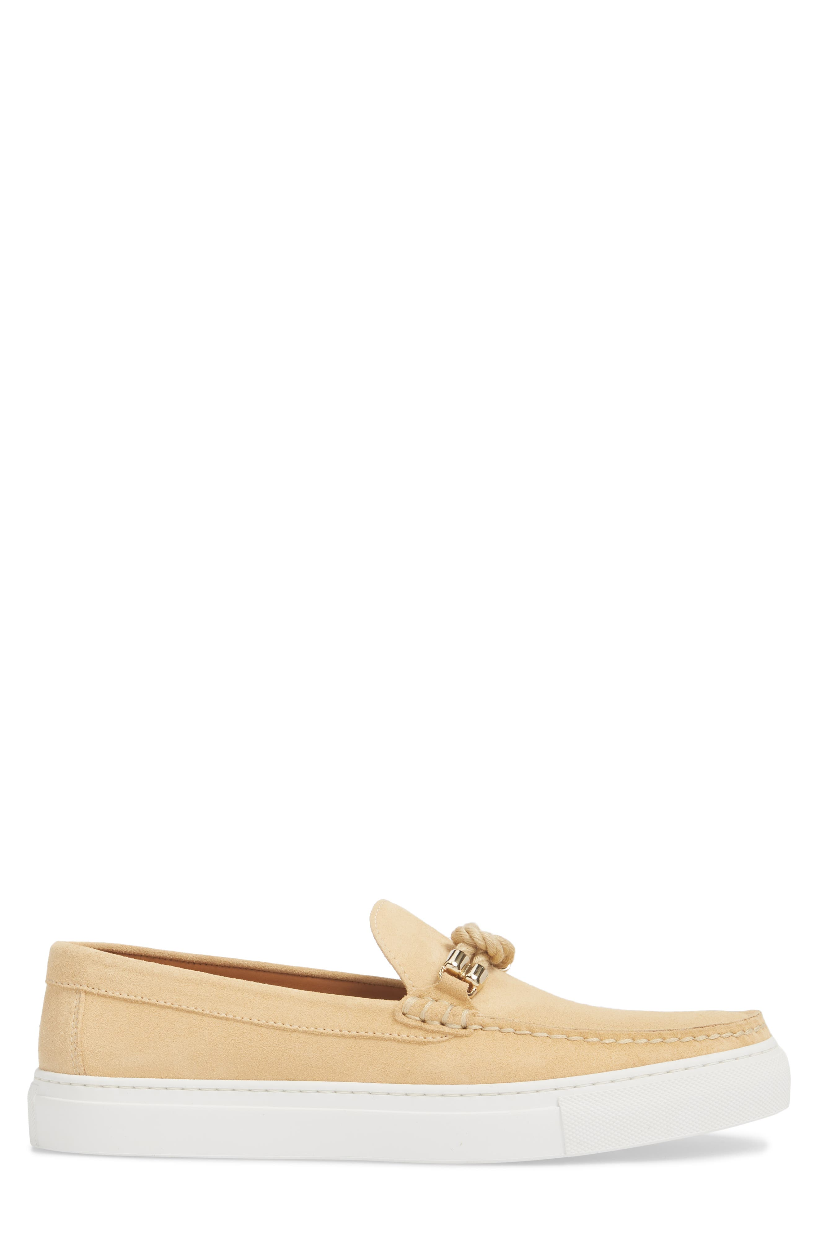 Bitton Square Knot Loafer,                             Alternate thumbnail 3, color,                             Beige Suede