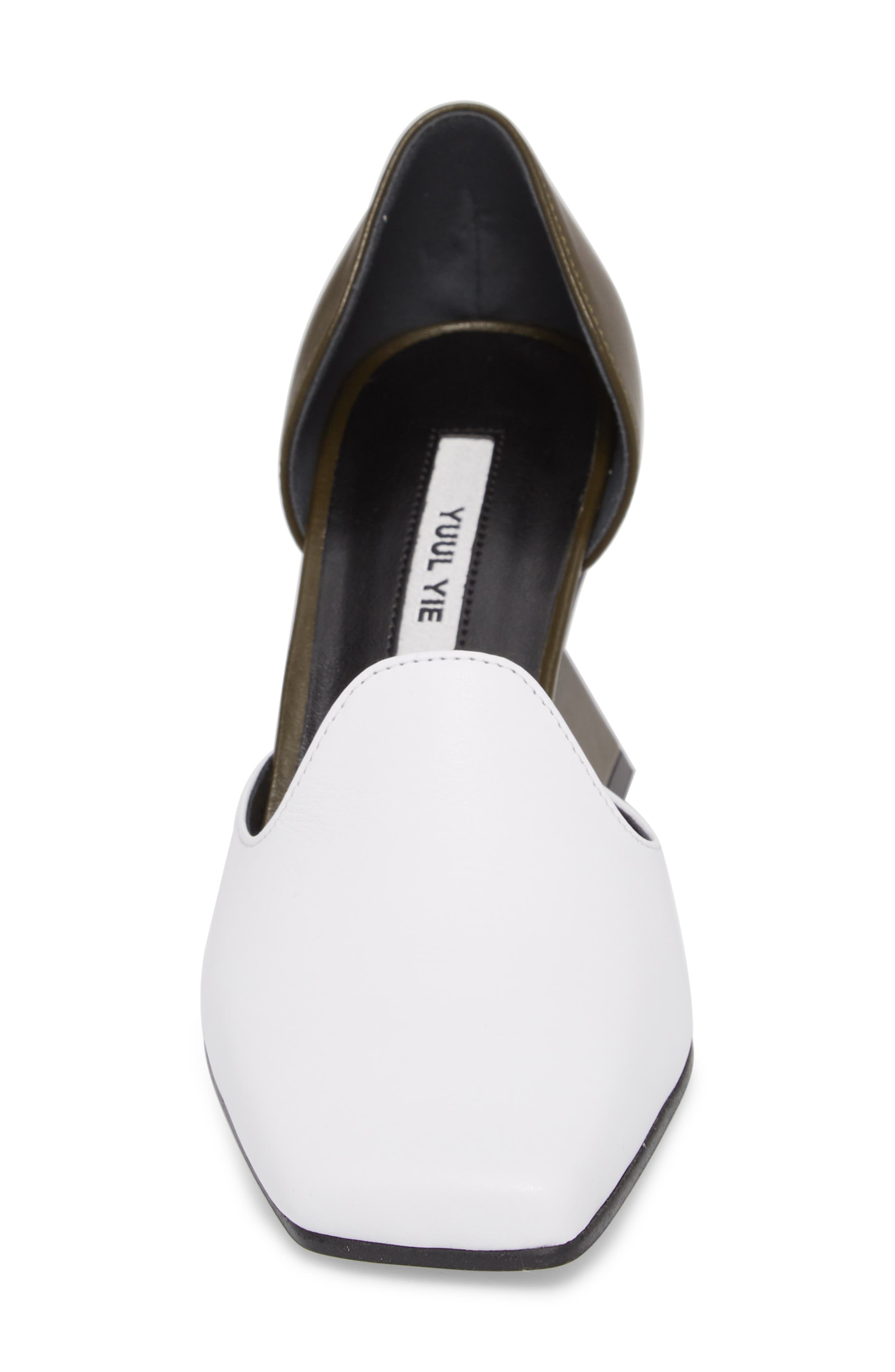 Statement Heel d'Orsay Pump,                             Alternate thumbnail 4, color,                             White/ Olive Green