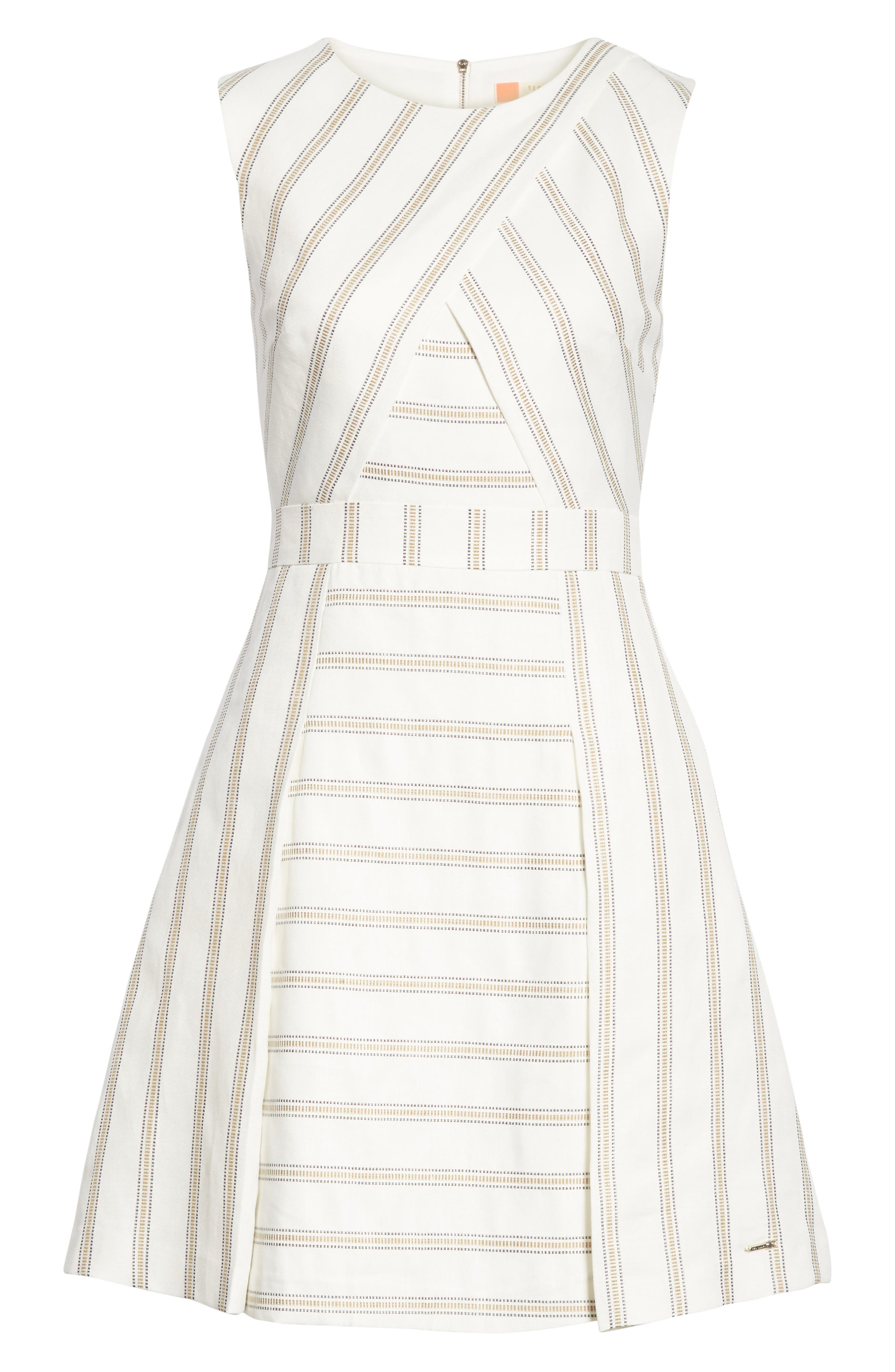 Colour by Numbers Cross Front Skater Dress,                             Alternate thumbnail 6, color,                             Ivory
