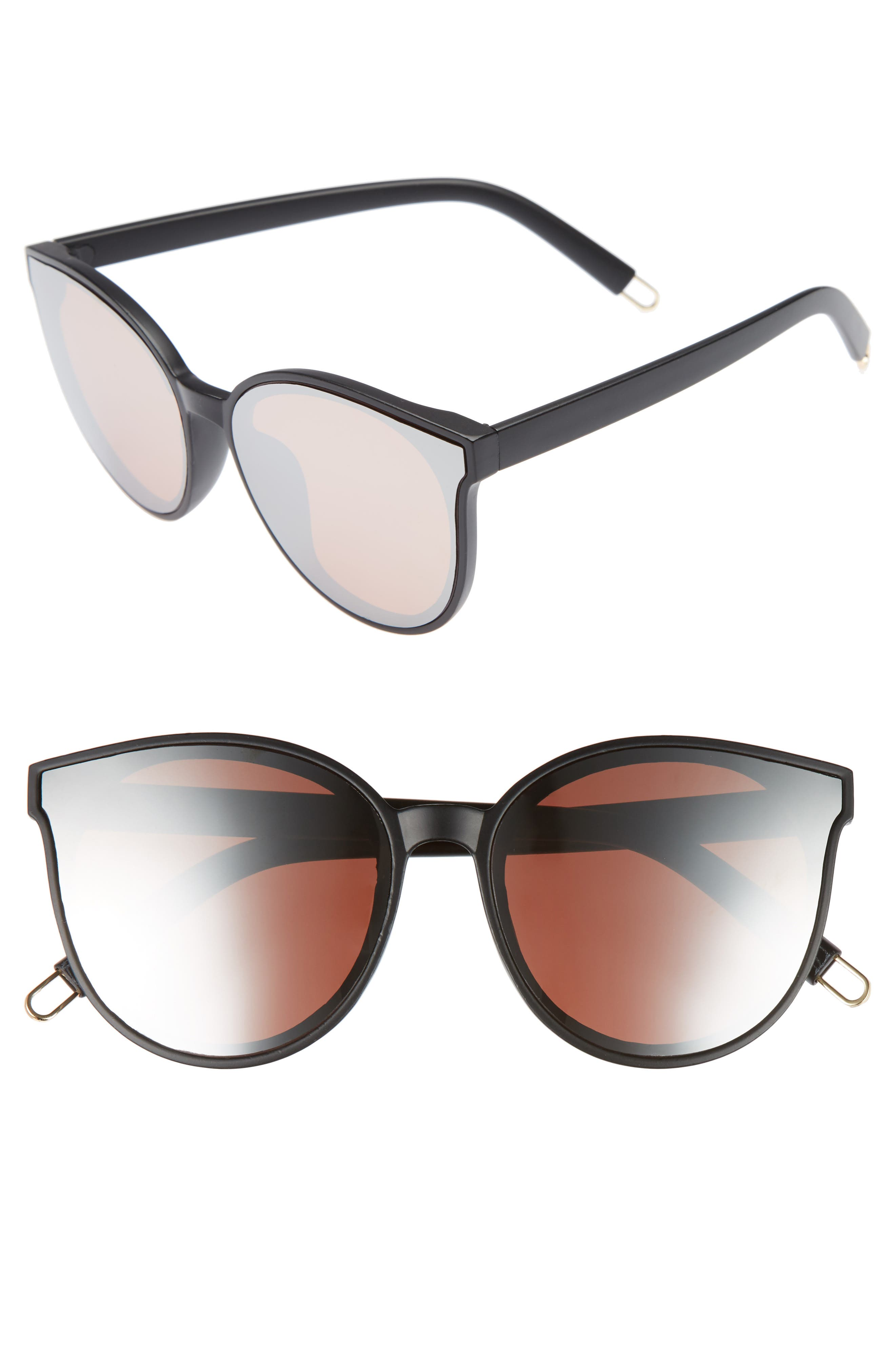 59mm Metal Tip Round Sunglasses,                         Main,                         color, Black/ Rose Gold