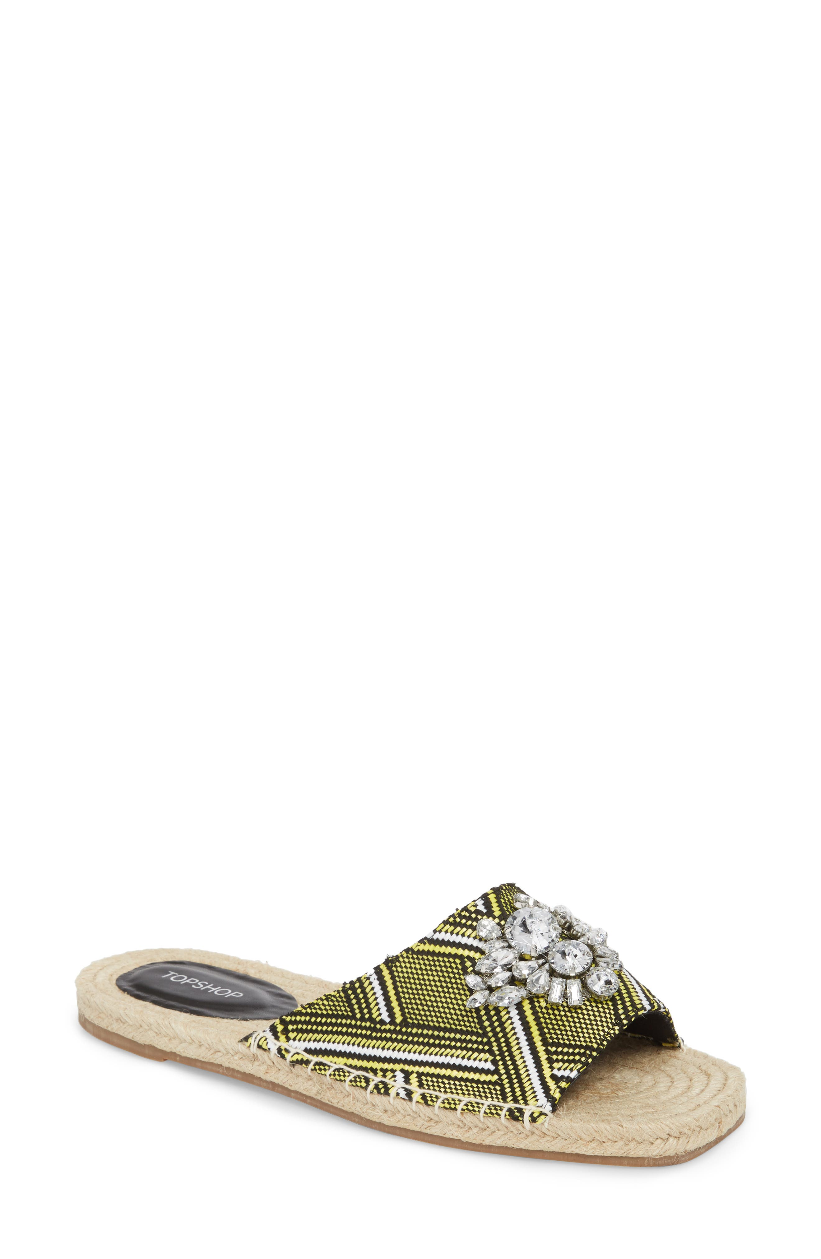 Hey Espadrille Square Slider Sandals,                             Main thumbnail 1, color,                             Yellow Multi