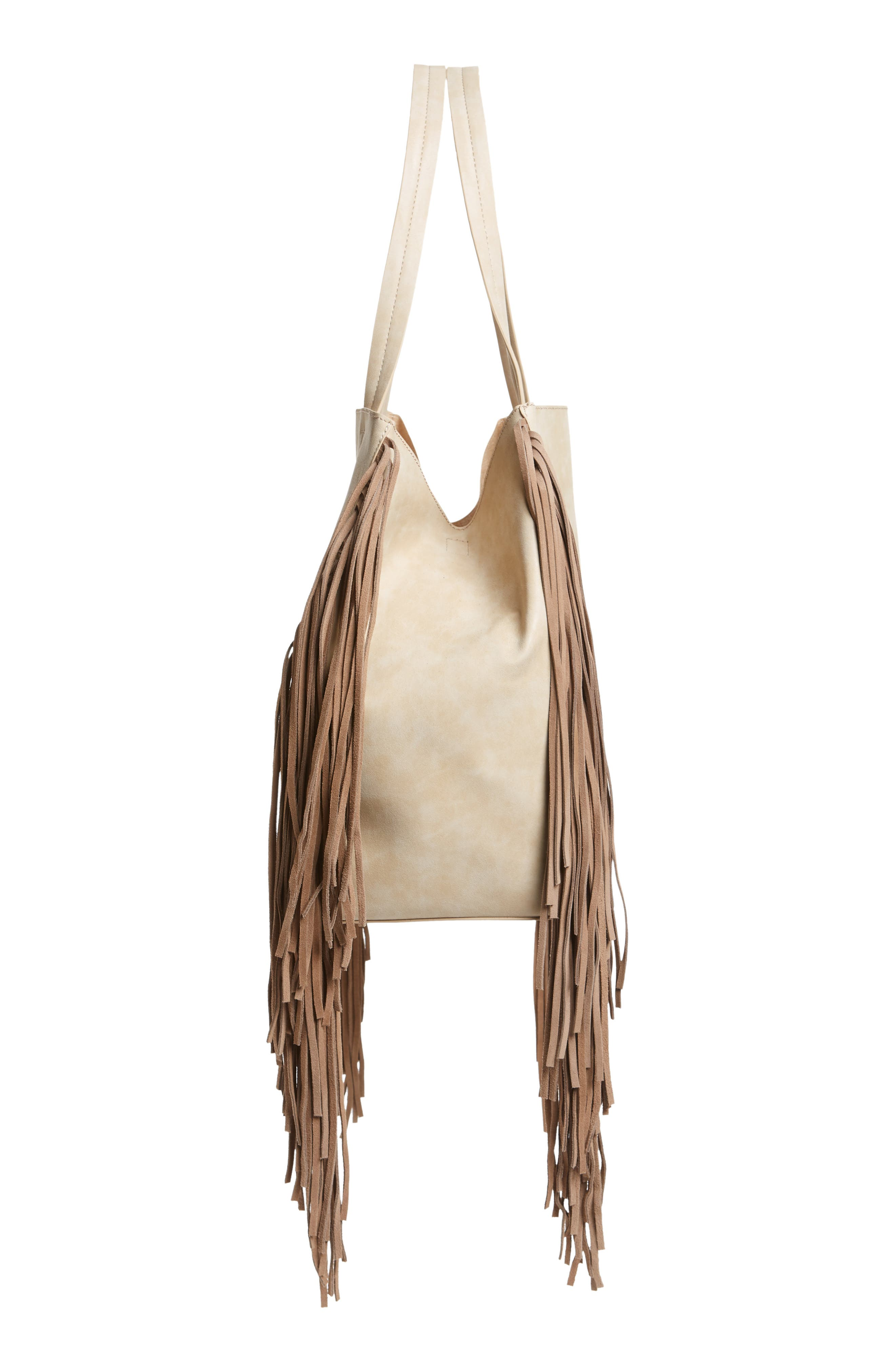 Sage Fringe Faux Leather Tote,                             Alternate thumbnail 7, color,                             Taupe