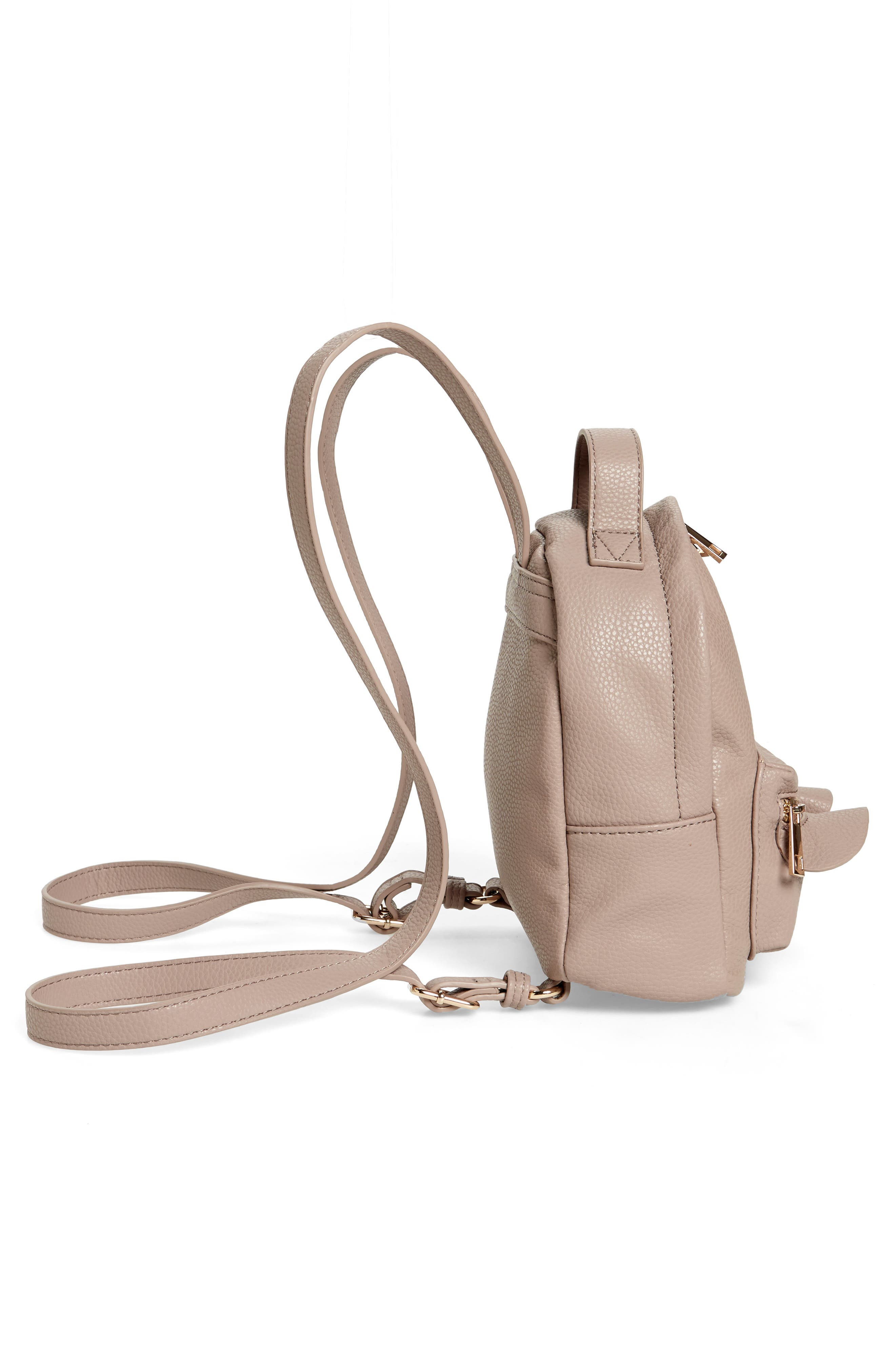 Tracie Mini Faux Leather Backpack,                             Alternate thumbnail 5, color,                             Taupe
