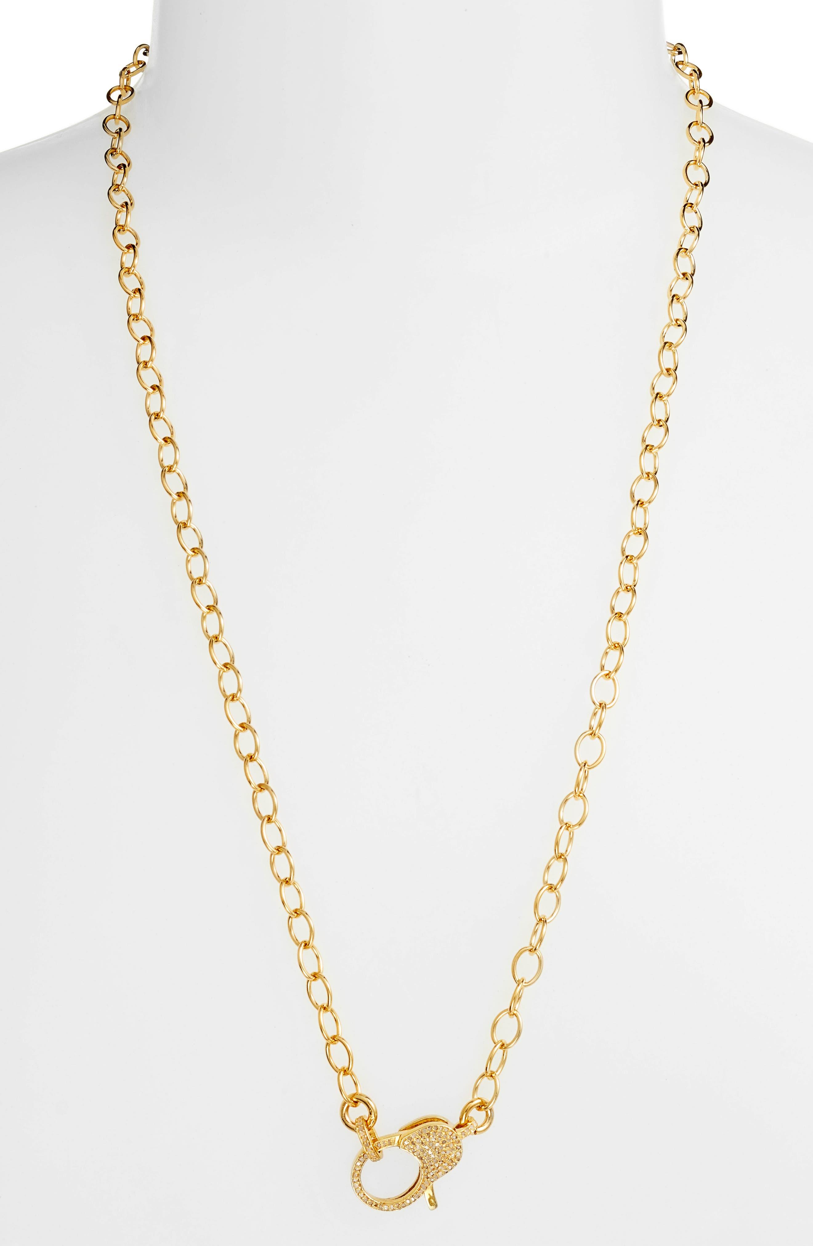 Jane Basch Pavé Diamond Clasp Long Chain Necklace,                             Alternate thumbnail 2, color,                             Gold