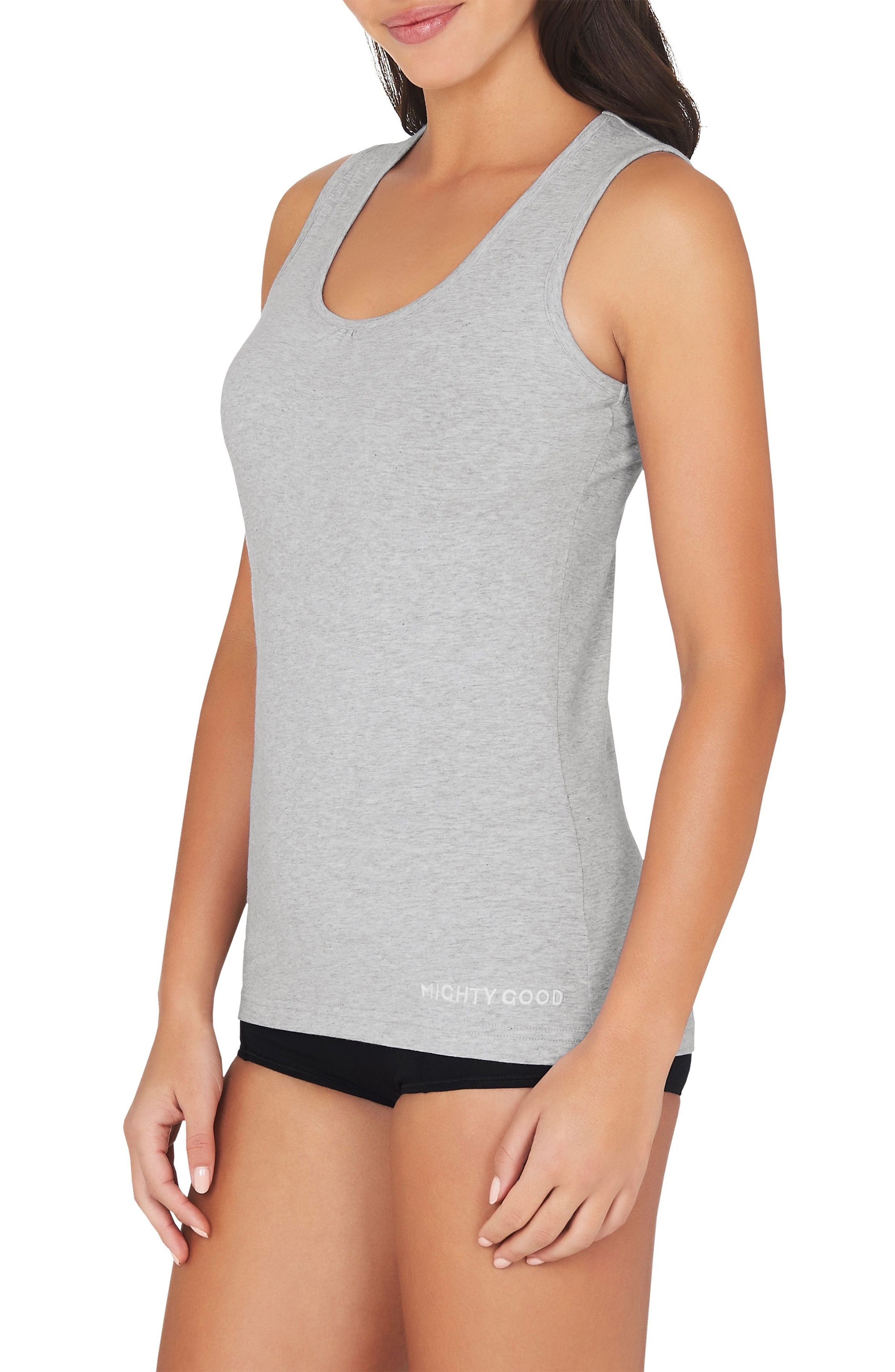 2-Pack Stretch Organic Cotton Muscle Tanks,                             Alternate thumbnail 6, color,                             Grey Marle