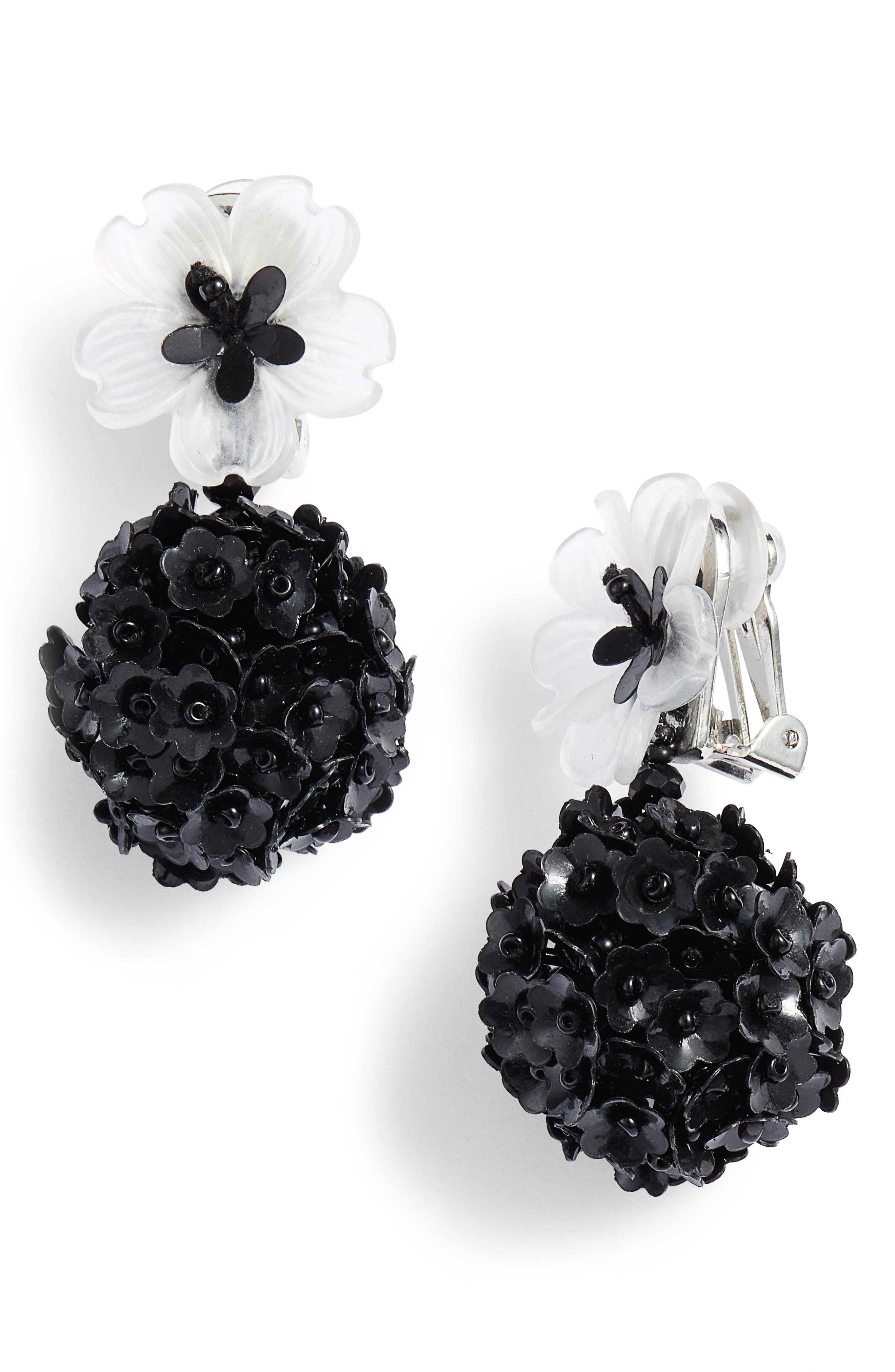 Fleur Drop Earrings,                             Main thumbnail 1, color,                             White/ Jet