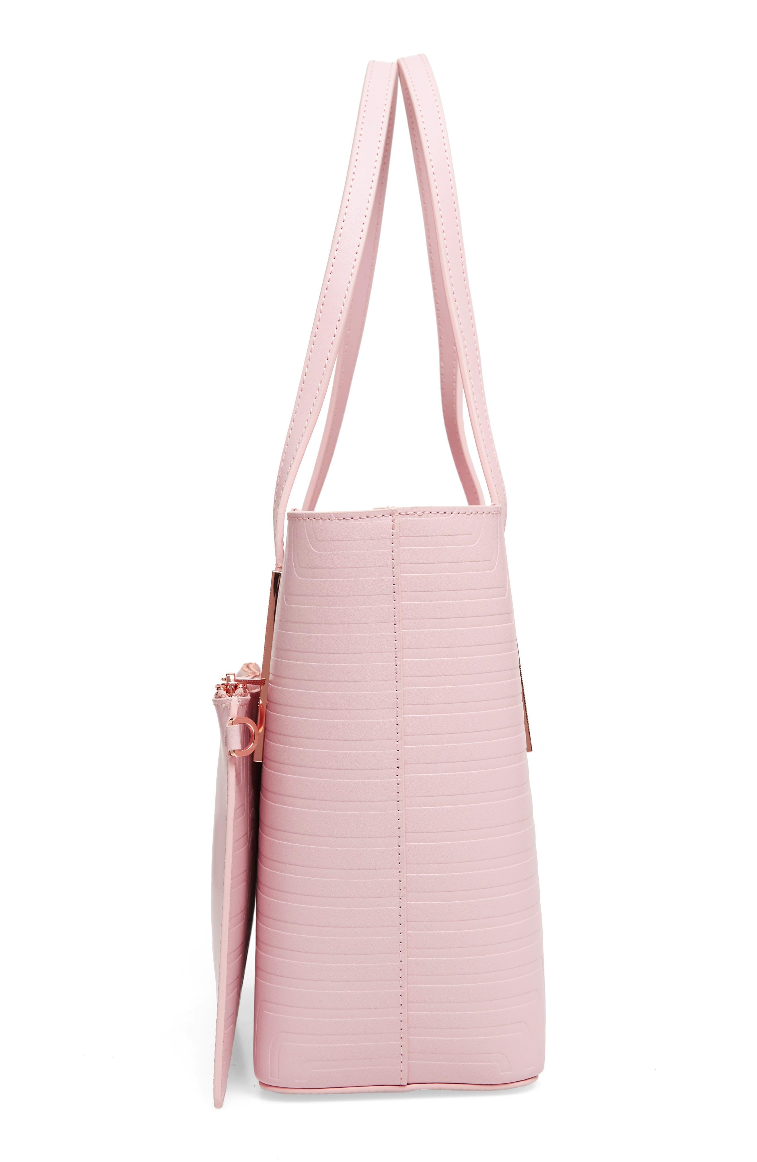 Bow Embossed Leather Shopper,                             Alternate thumbnail 5, color,                             Light Pink