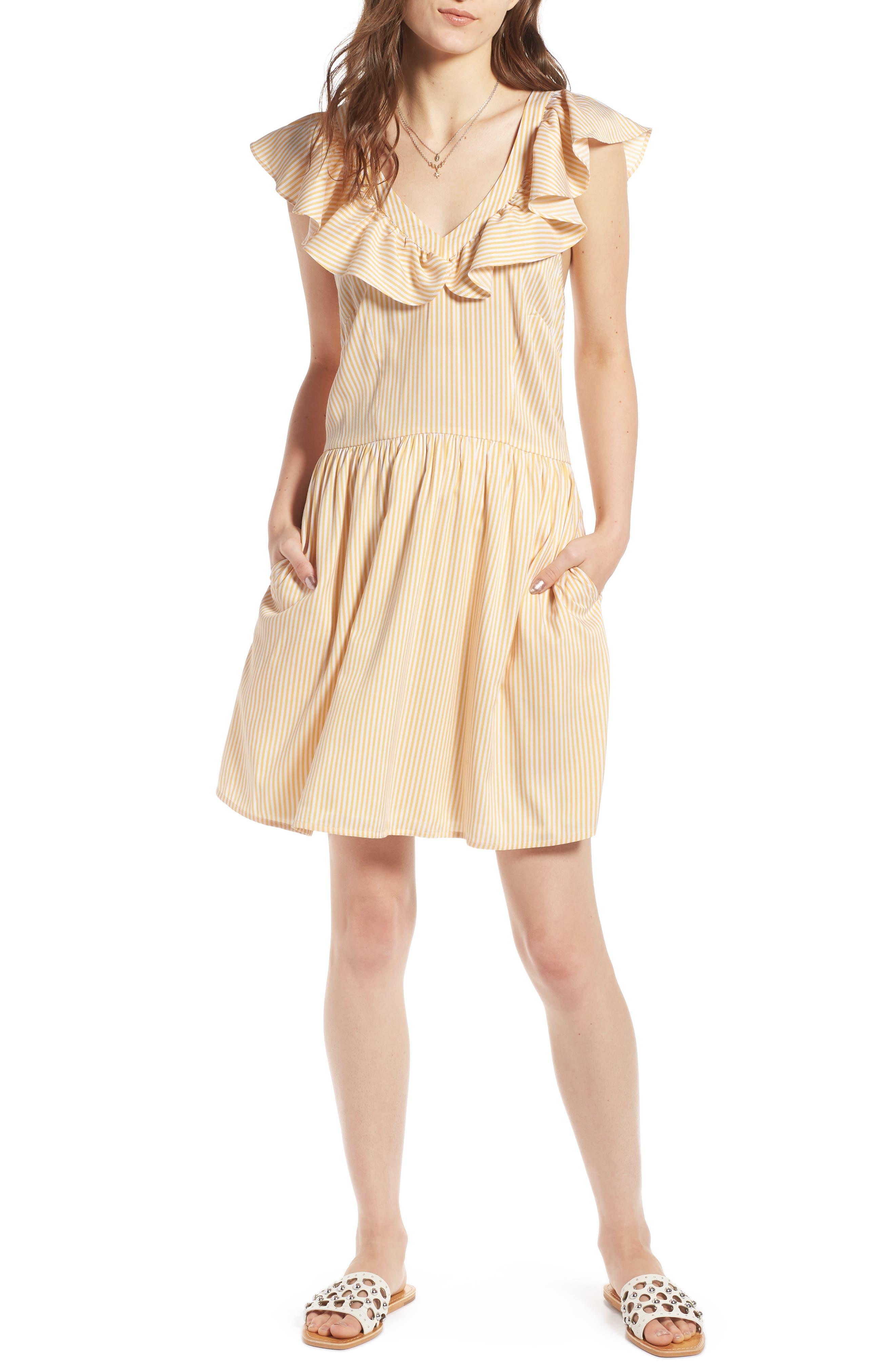 Ruffle Dress,                             Main thumbnail 1, color,                             Yellow Gleam Stratus Stripe