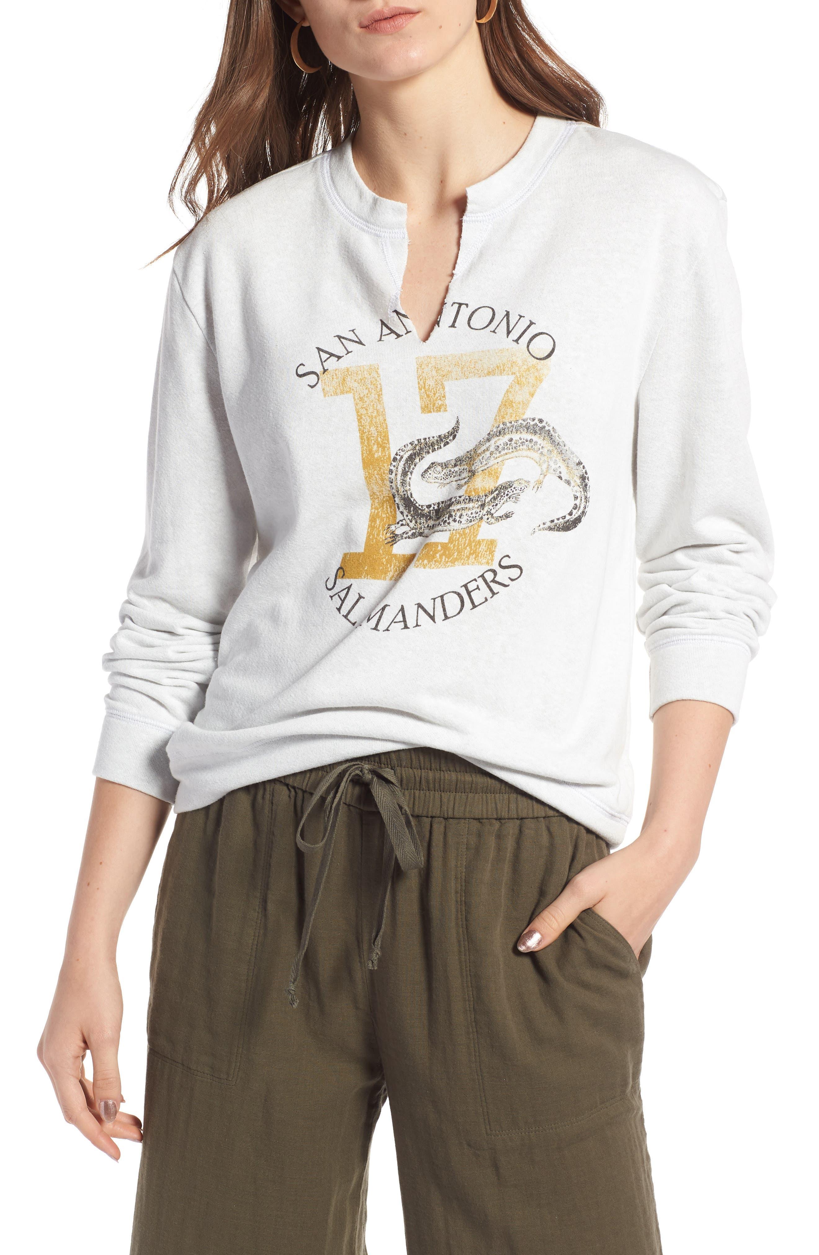Split Neck Graphic Sweatshirt,                             Main thumbnail 1, color,                             White Salamanders