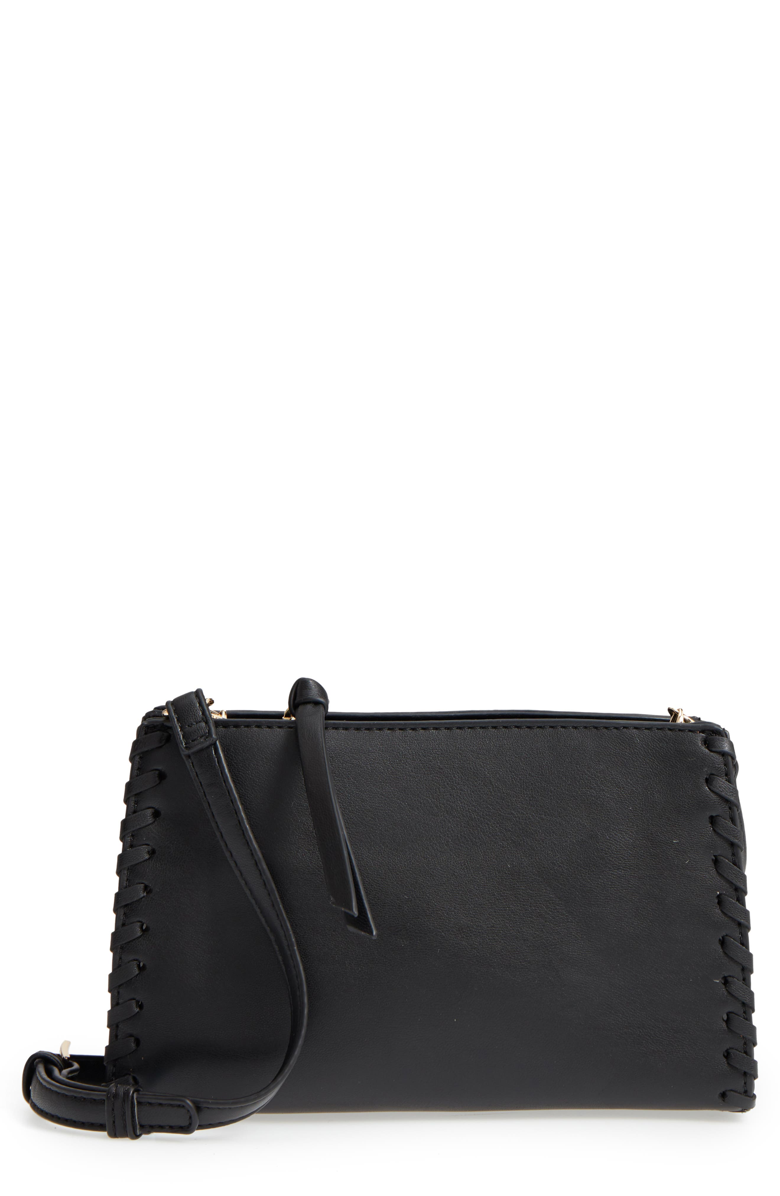 Cadence Whipstitch Faux Leather Crossbody Bag,                         Main,                         color, Black