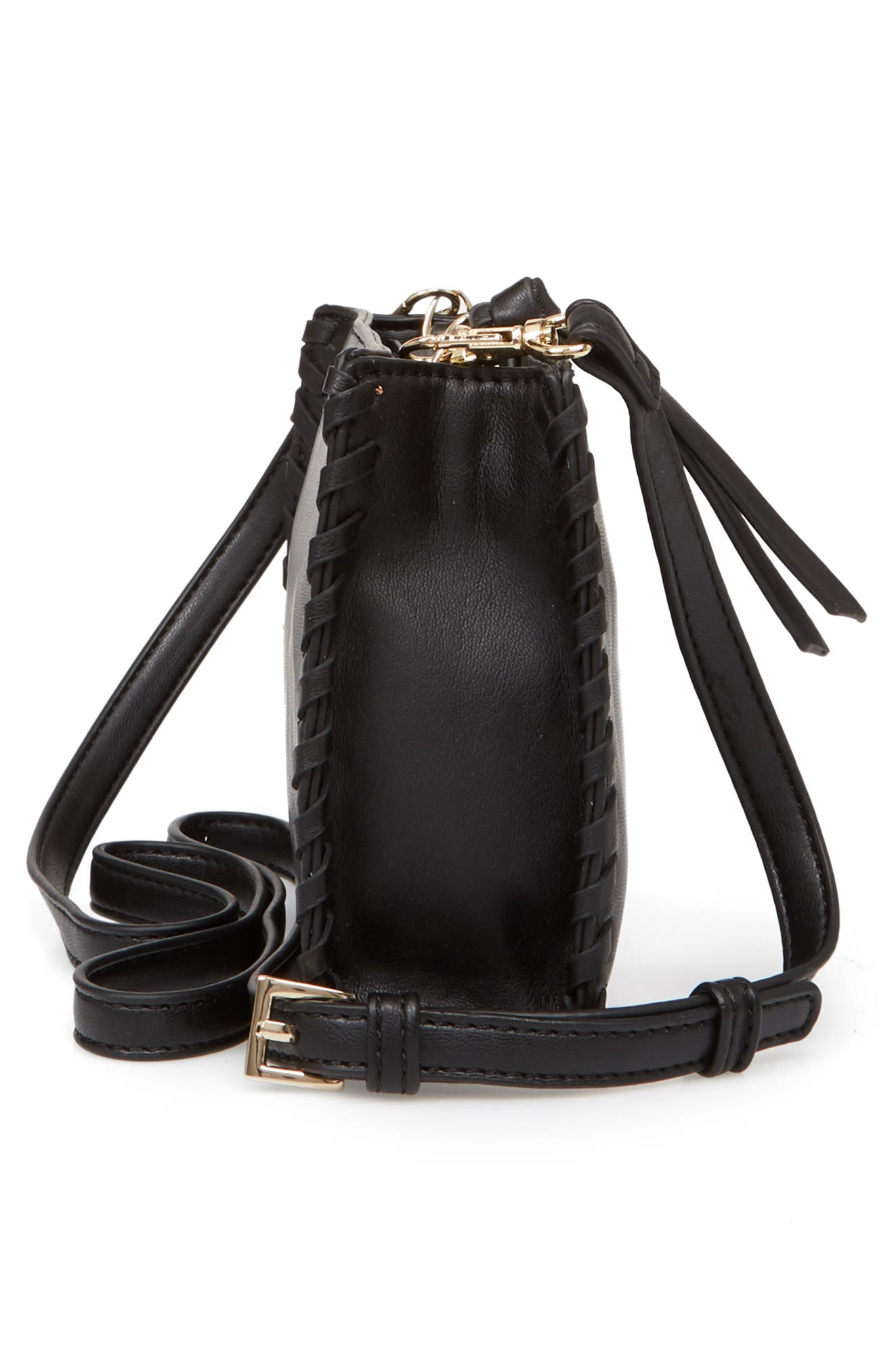 Cadence Whipstitch Faux Leather Crossbody Bag,                             Alternate thumbnail 5, color,                             Black