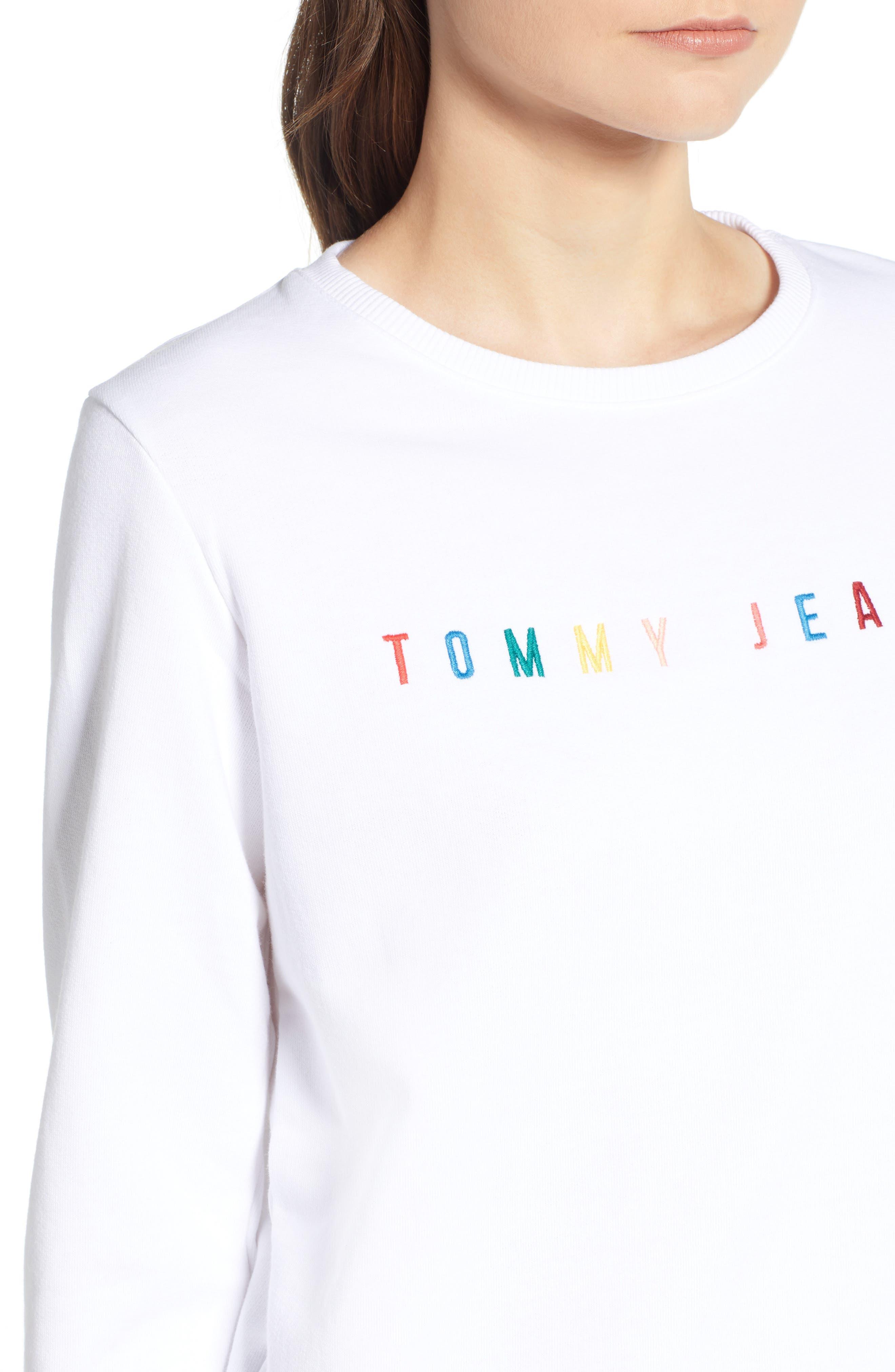 Summer Logo Sweatshirt,                             Alternate thumbnail 4, color,                             Bright White