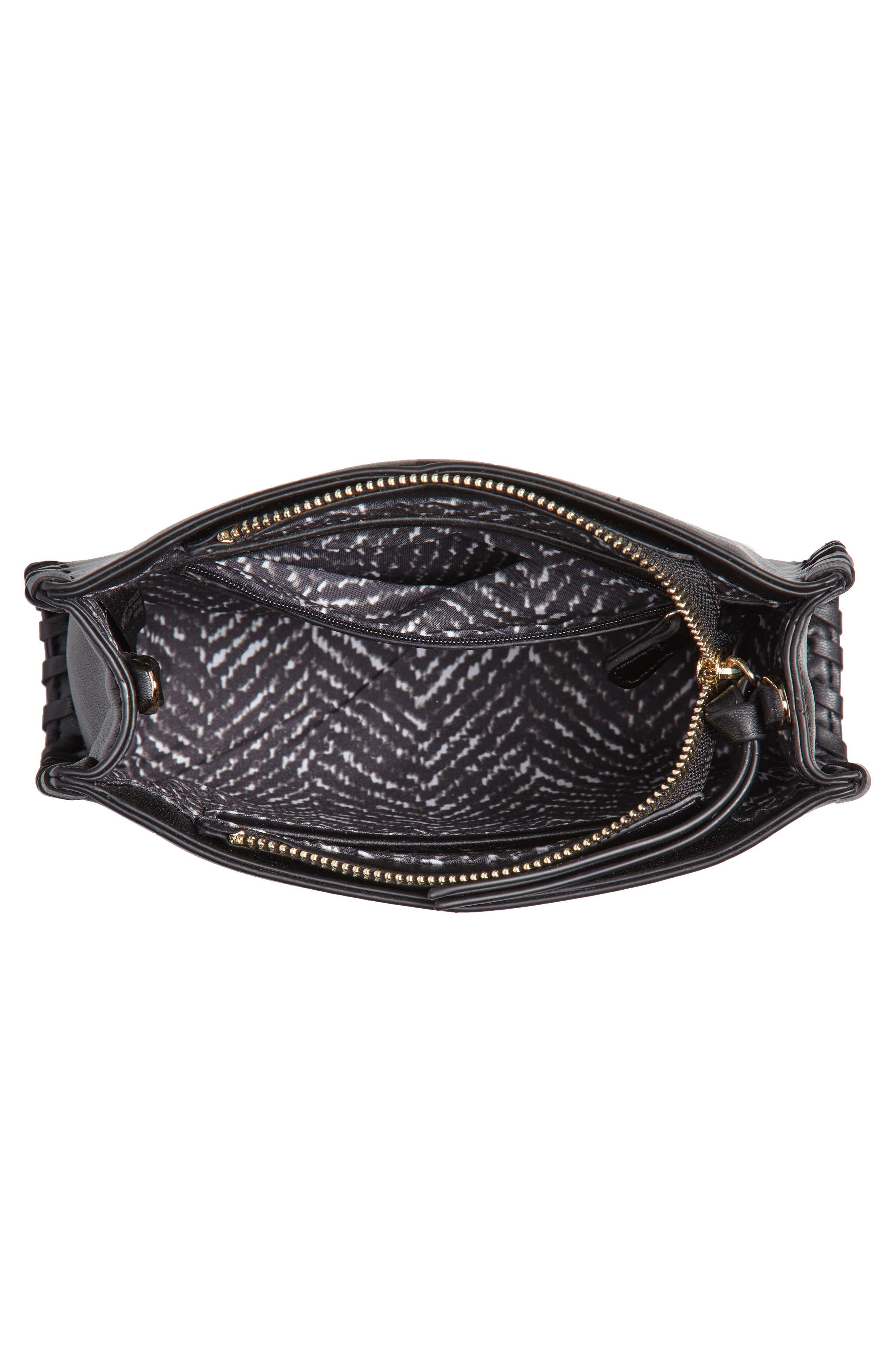 Cadence Whipstitch Faux Leather Crossbody Bag,                             Alternate thumbnail 4, color,                             Black