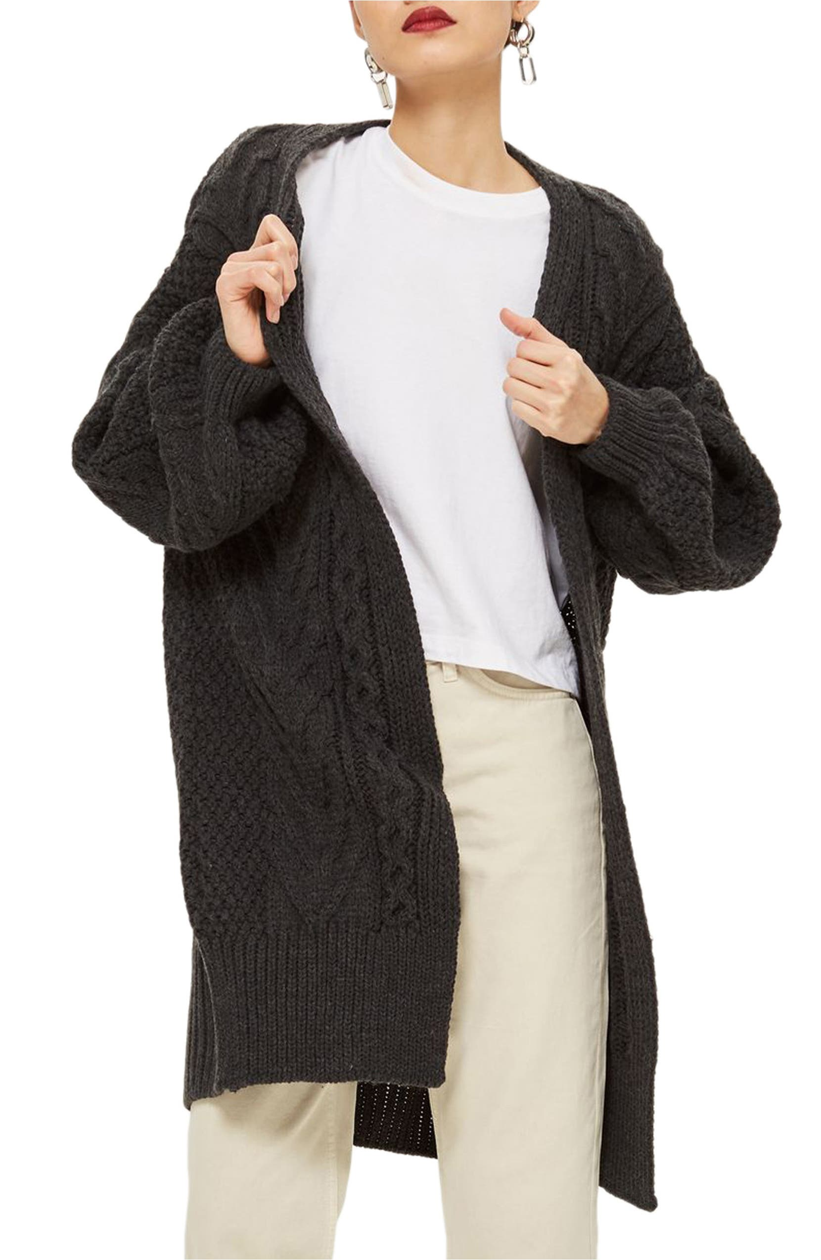 Long Open Front Cardi,                         Main,                         color, Charcoal