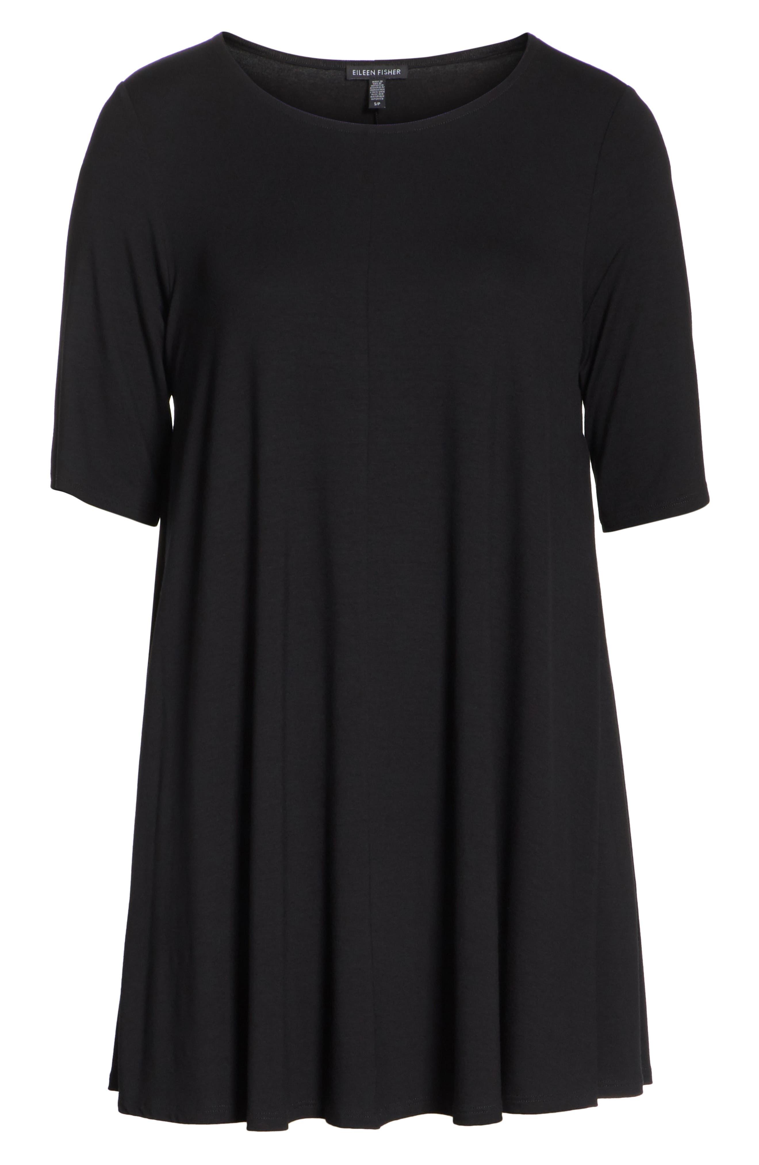 Jewel Neck Elbow Sleeve Tunic,                             Alternate thumbnail 6, color,                             Black