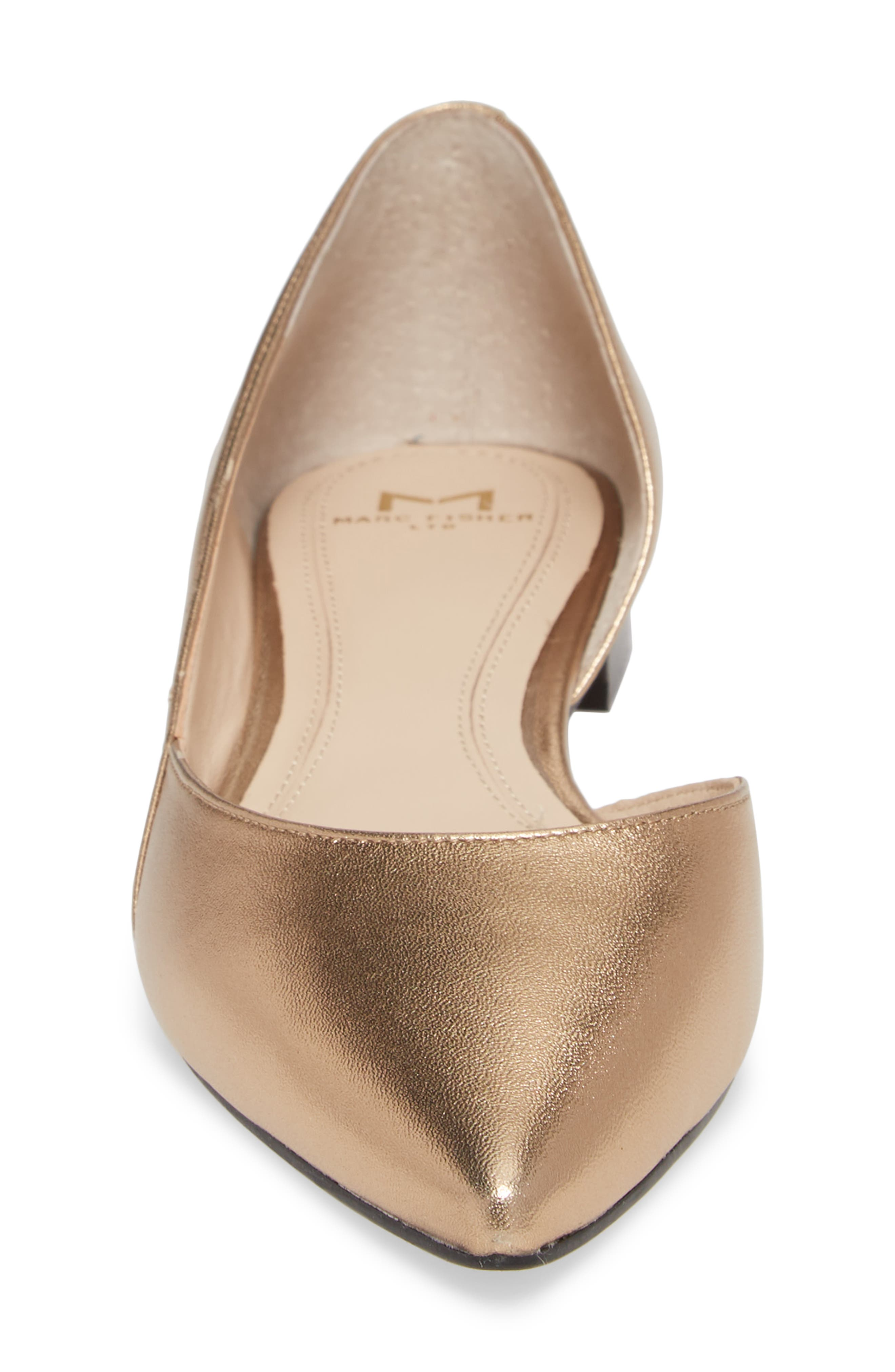 'Sunny' Half d'Orsay Flat,                             Alternate thumbnail 4, color,                             Gold Leather