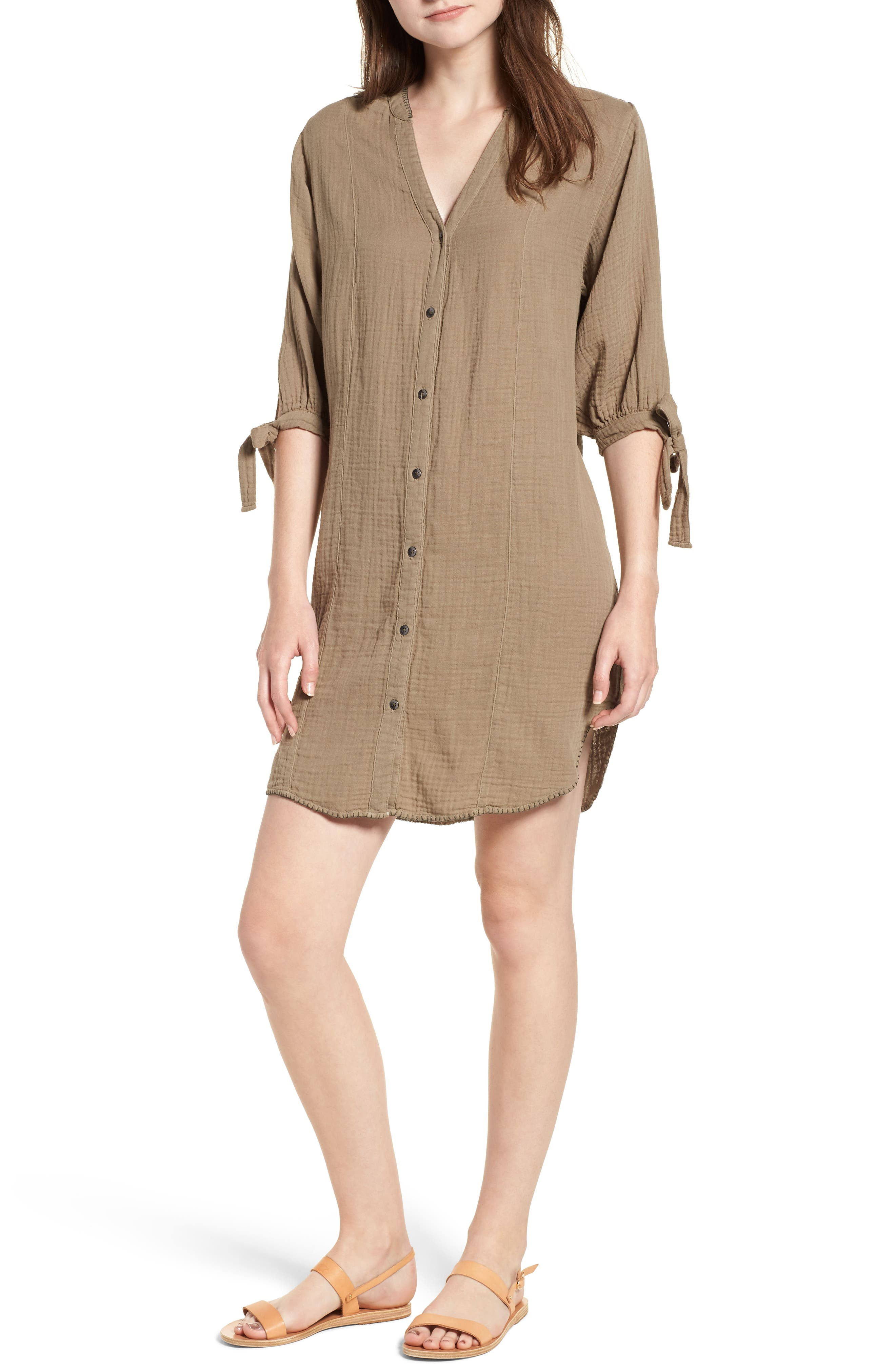 Whipstitch Tie Sleeve Shirtdress,                         Main,                         color, Olive
