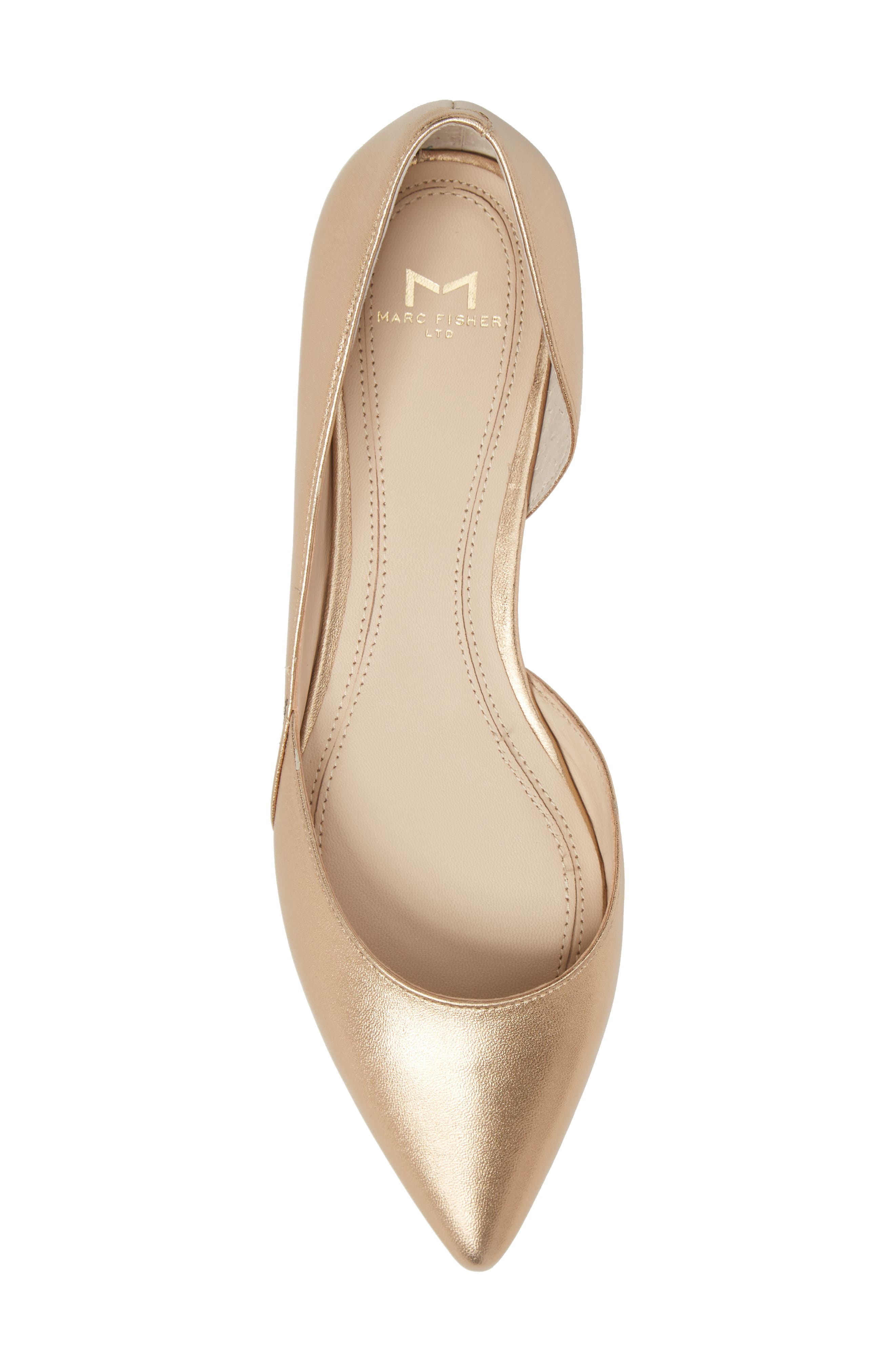 'Sunny' Half d'Orsay Flat,                             Alternate thumbnail 5, color,                             Gold Leather